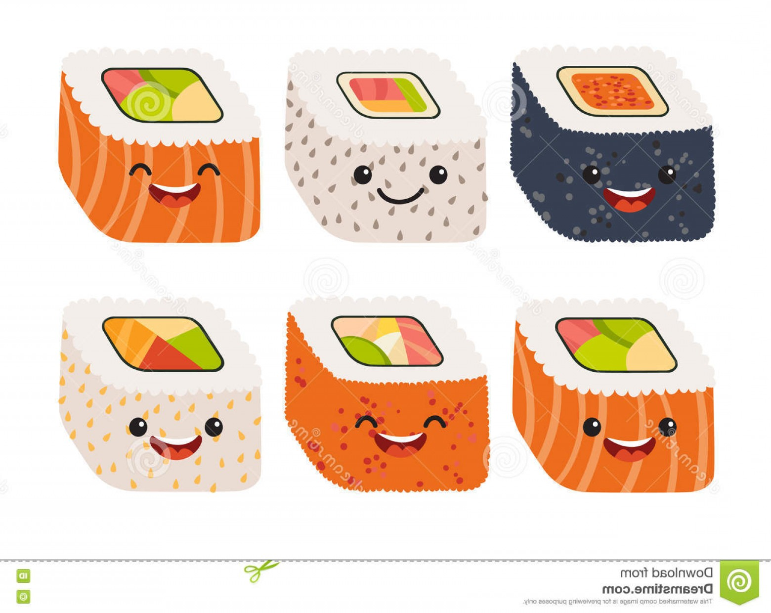 Sushi Vector Art: Stock Illustration Fun Sushi Vector Cute Sushi Cute Faces Sushi Roll Set Happy Sushi Characters Funny Japanese Food Image