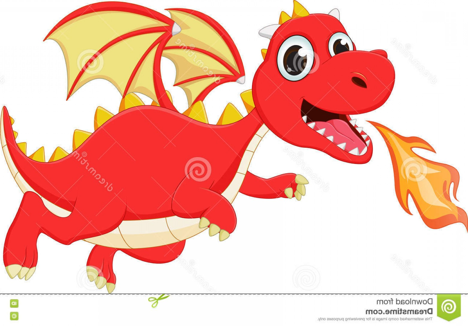Dragon Fire Vector: Stock Illustration Funny Cartoon Flying Dragon Fire Vector Illustration Isolated White Image