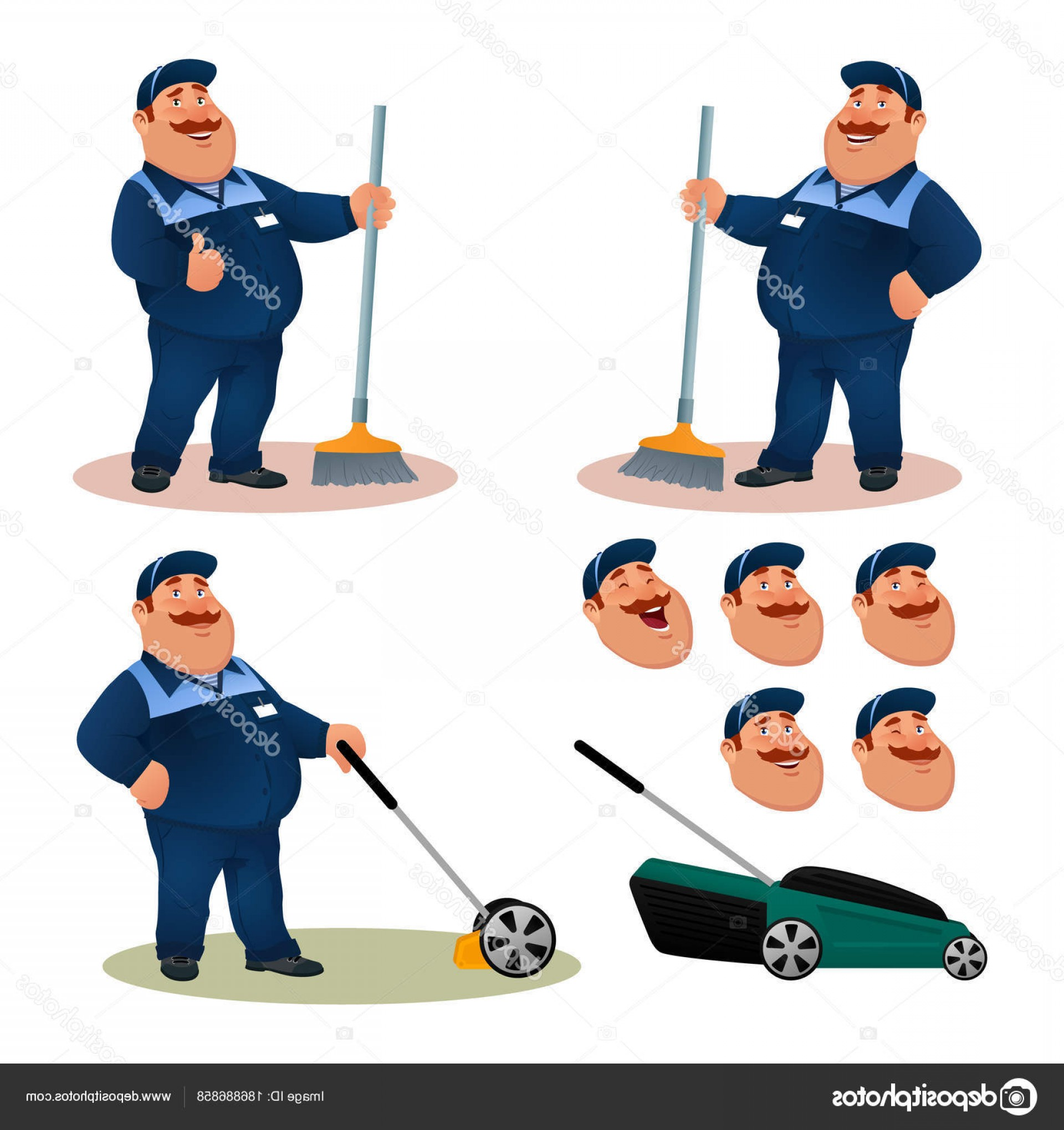 Cleaning Vector Janitorail: Stock Illustration Funny Cartoon Janitor Set With