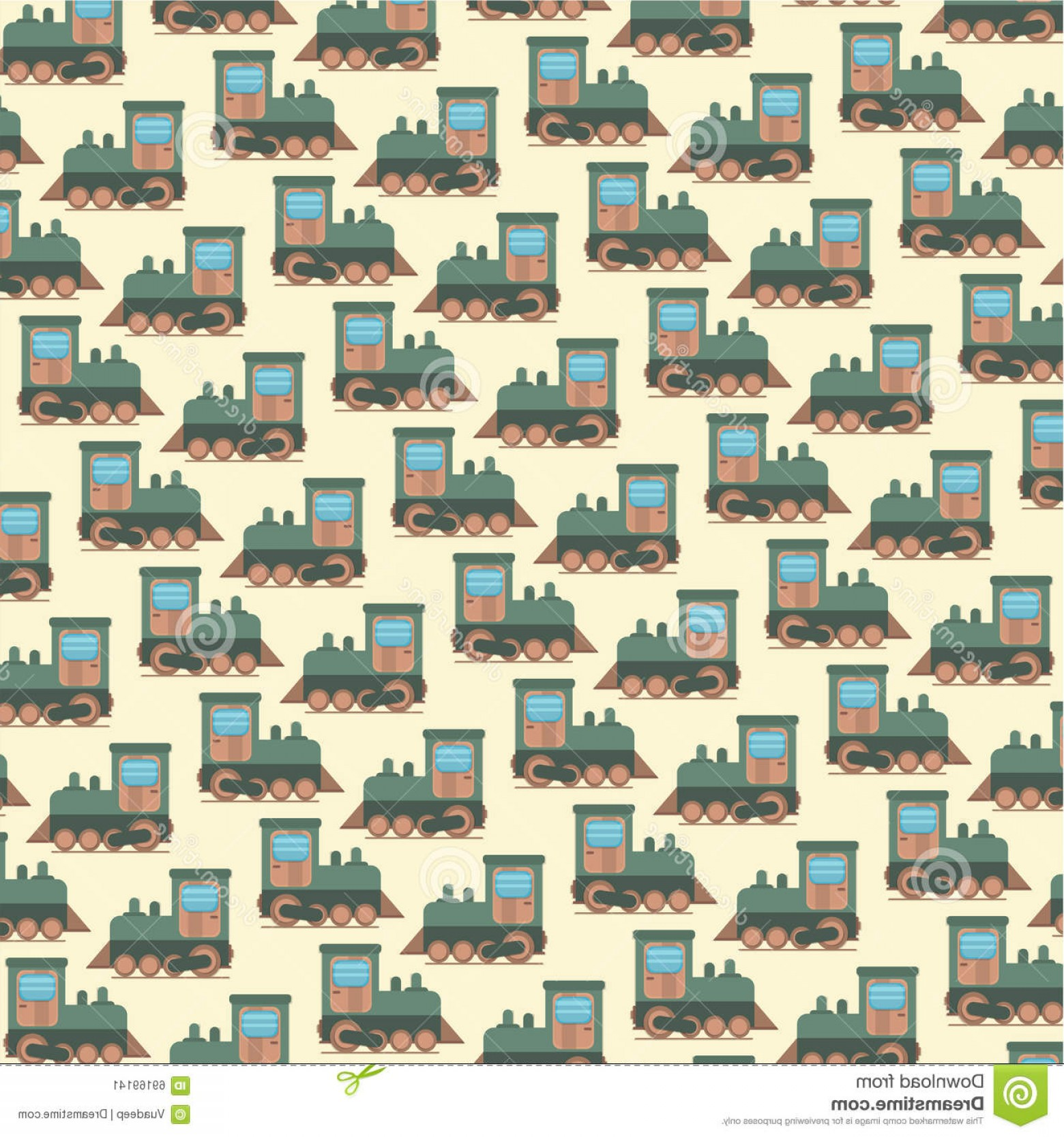 Vector Train Pattern: Stock Illustration Funny Cartoon Toy Train Vector Seamless Pattern Little Steam Background Image