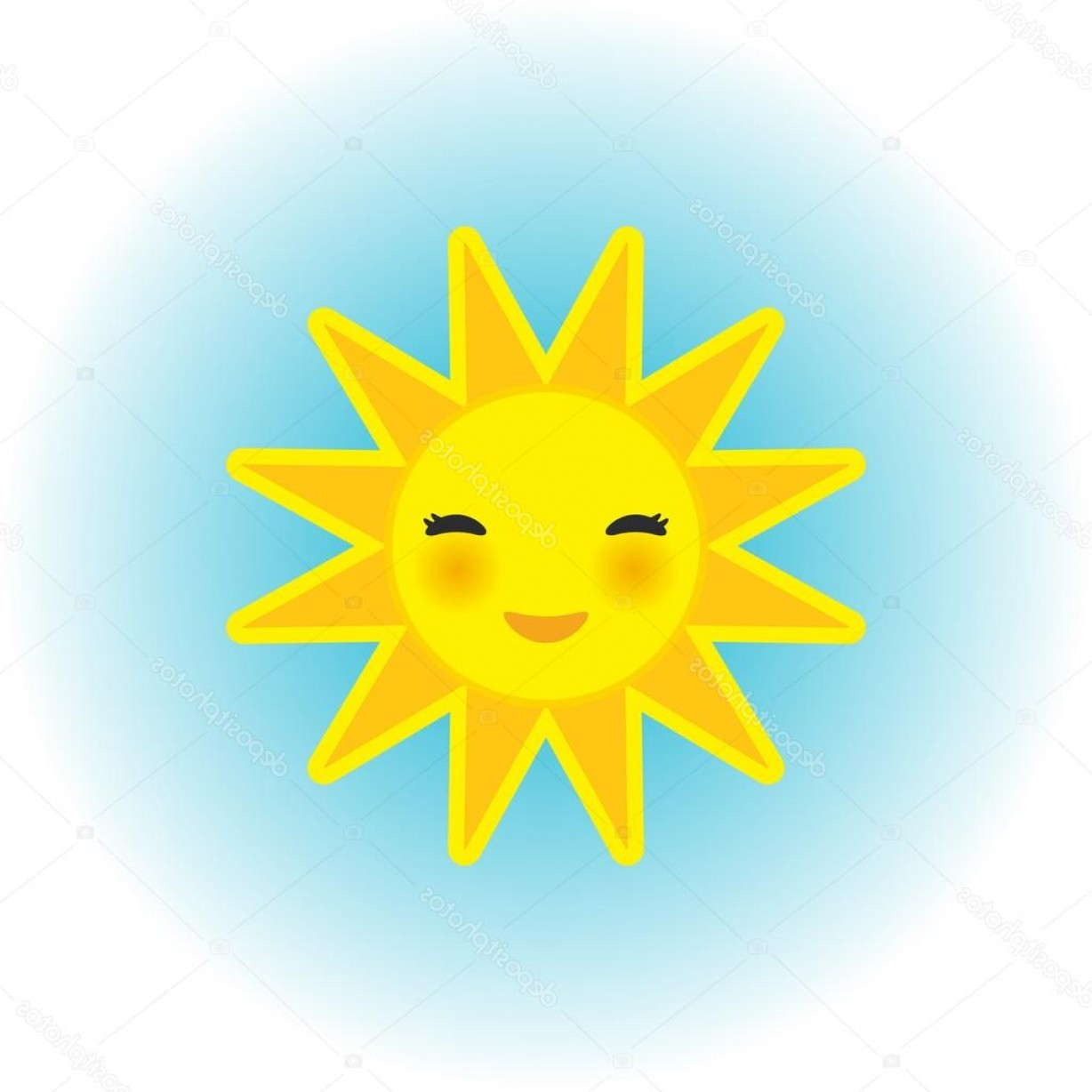 Blue Background Vector Cartoon Sun: Stock Illustration Funny Cartoon Yellow Sun Smiling