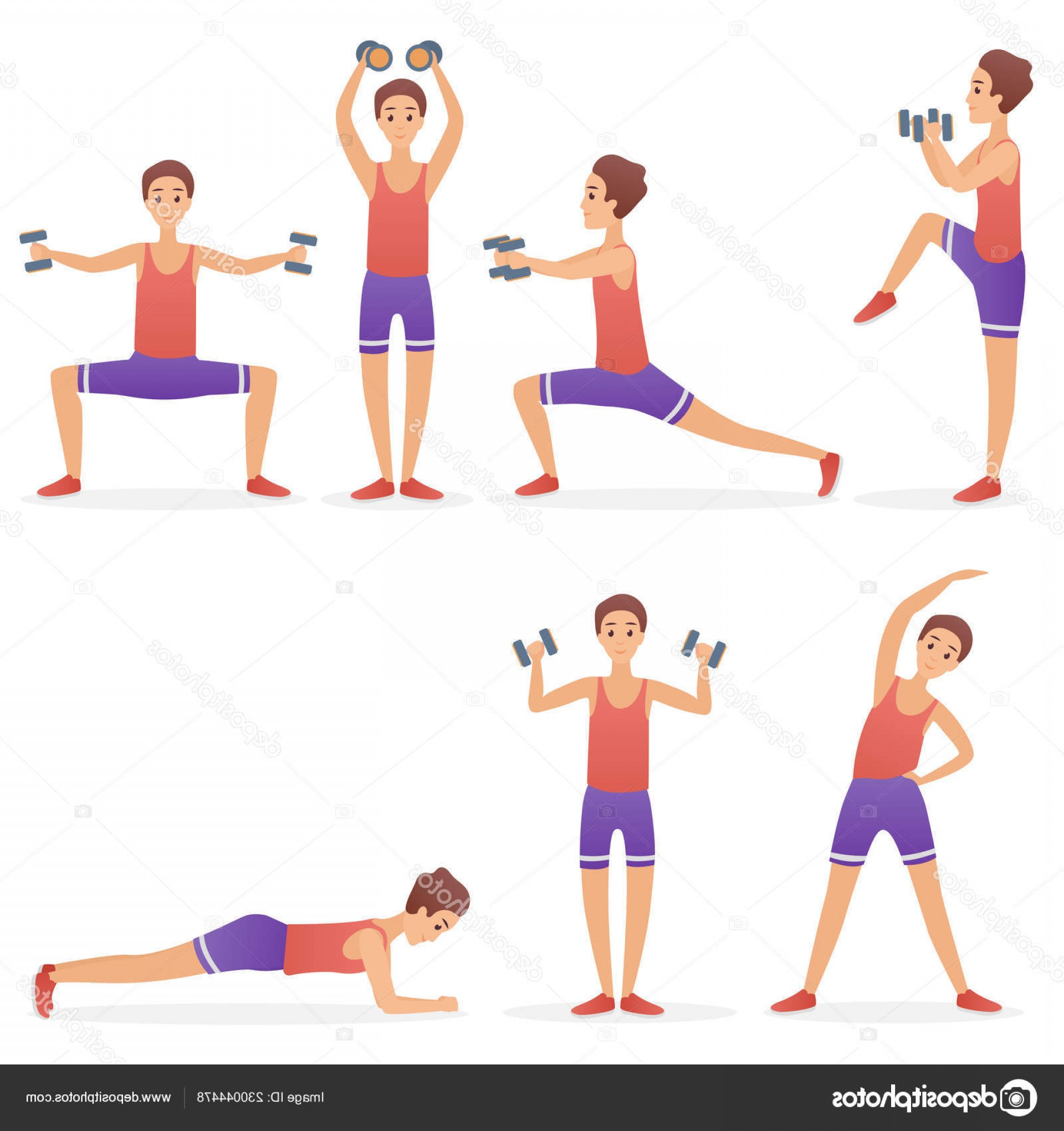 Man Vector Exercise: Stock Illustration Funny Handsome Man Exercising Various