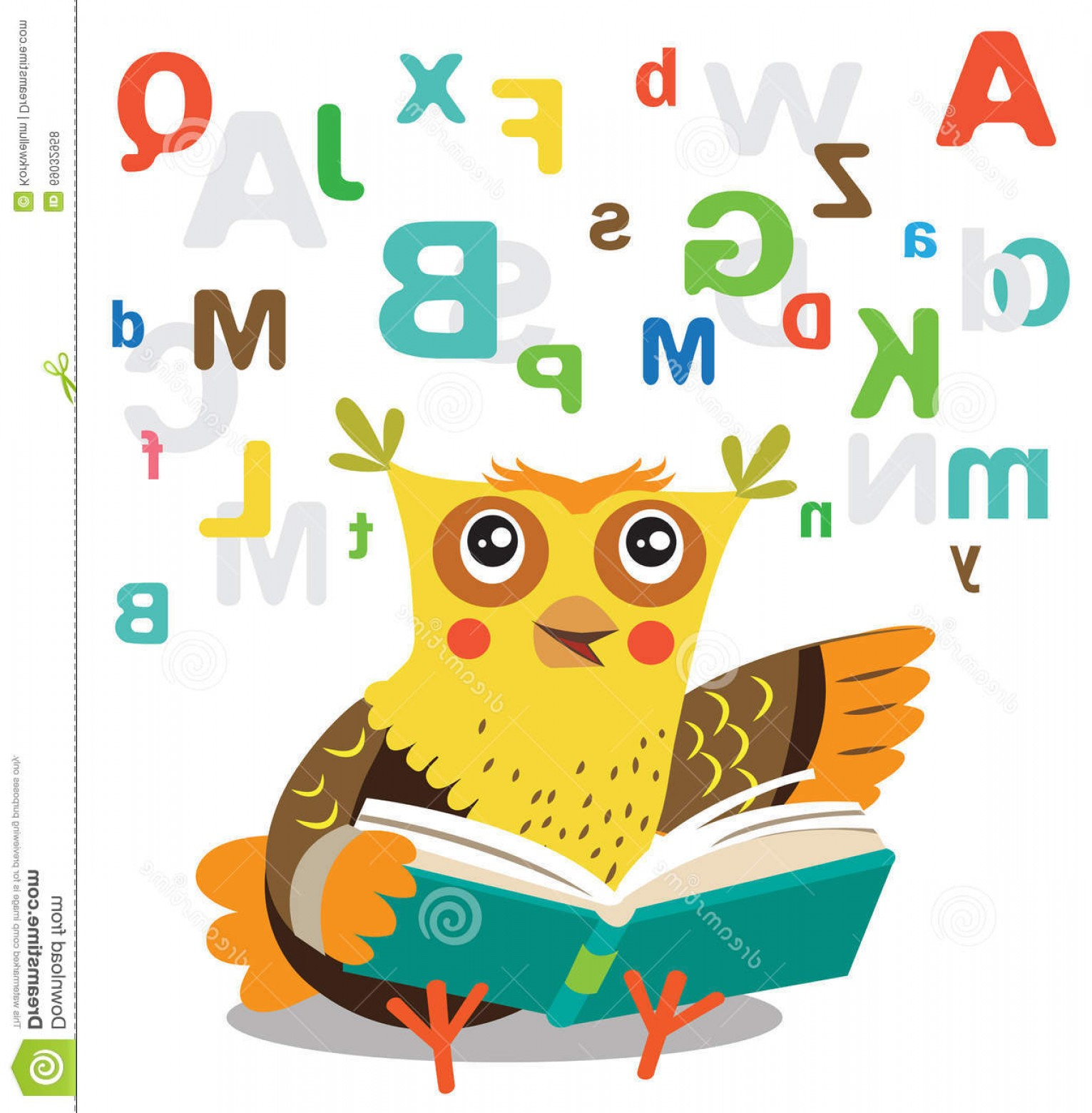 Vector Sayings Joke: Stock Illustration Funny Owl Learn To Read Book White Background Cartoon Vector Illustrations Picture Memes Jokes Sayings Image
