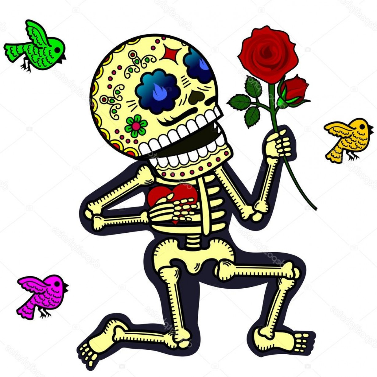 Skeletons In Love Vector: Stock Illustration Funny Skeletons Crazy In Love