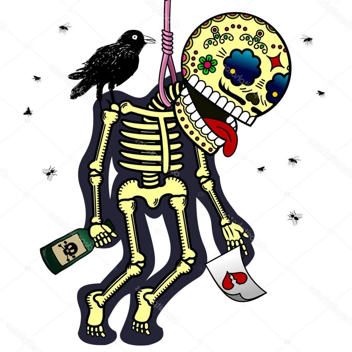 Skeletons In Love Vector: Stock Illustration Funny Skeletons Love Kills