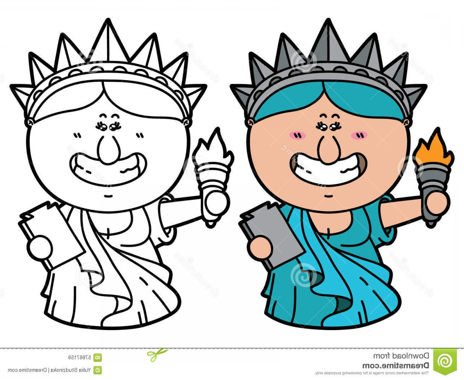 Statue Of Liberty Face Vector: Stock Illustration Funny Statue Liberty Vector Illustration Coloring Page Happy Cartoon Which Holding Torch Children Scrap Book Image