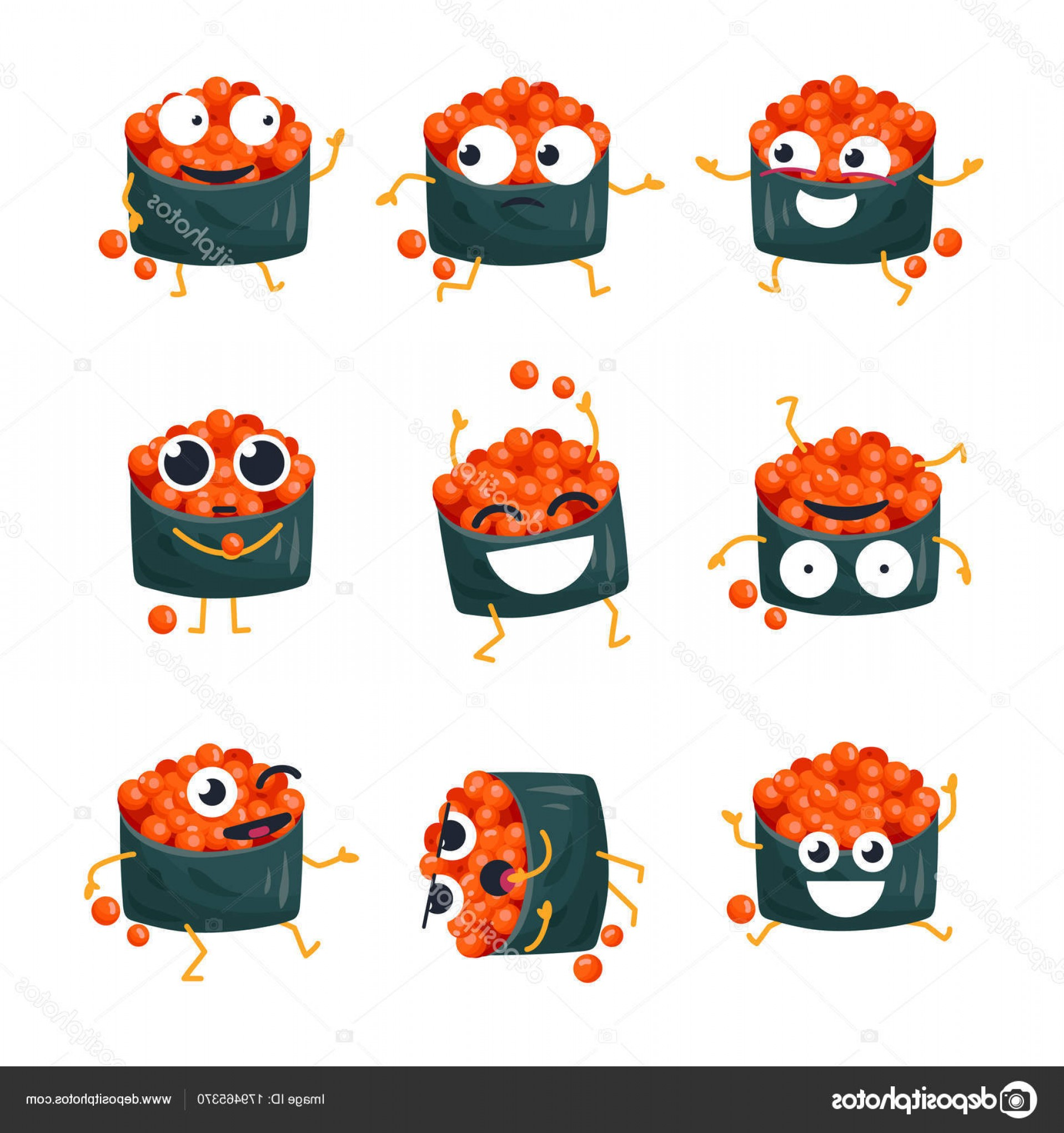 Sushi Vector Art: Stock Illustration Funny Sushi With Red Caviar