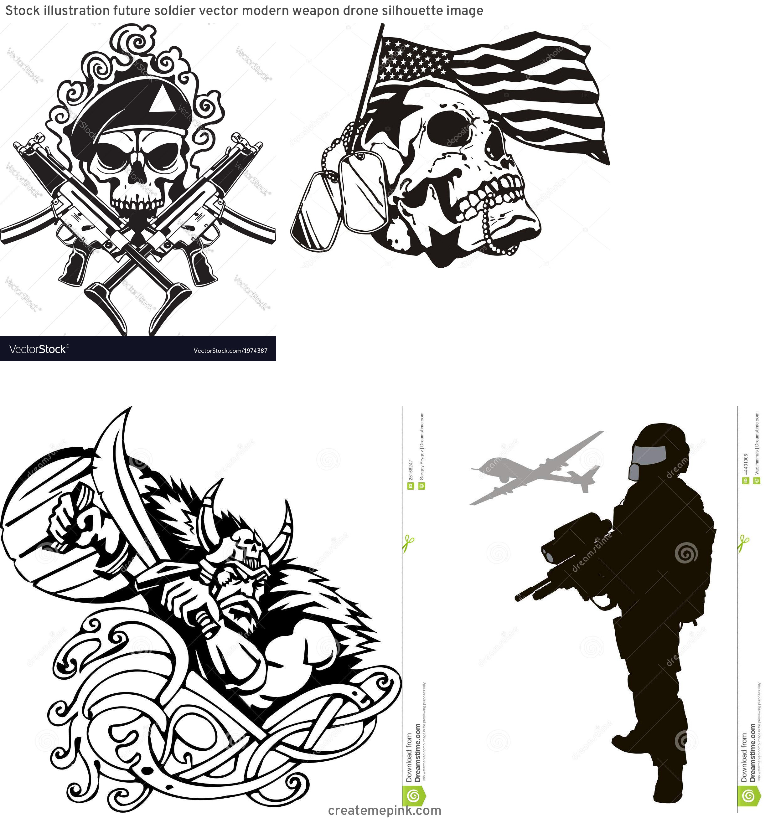 Soldier Vector Vinyl: Stock Illustration Future Soldier Vector Modern Weapon Drone Silhouette Image