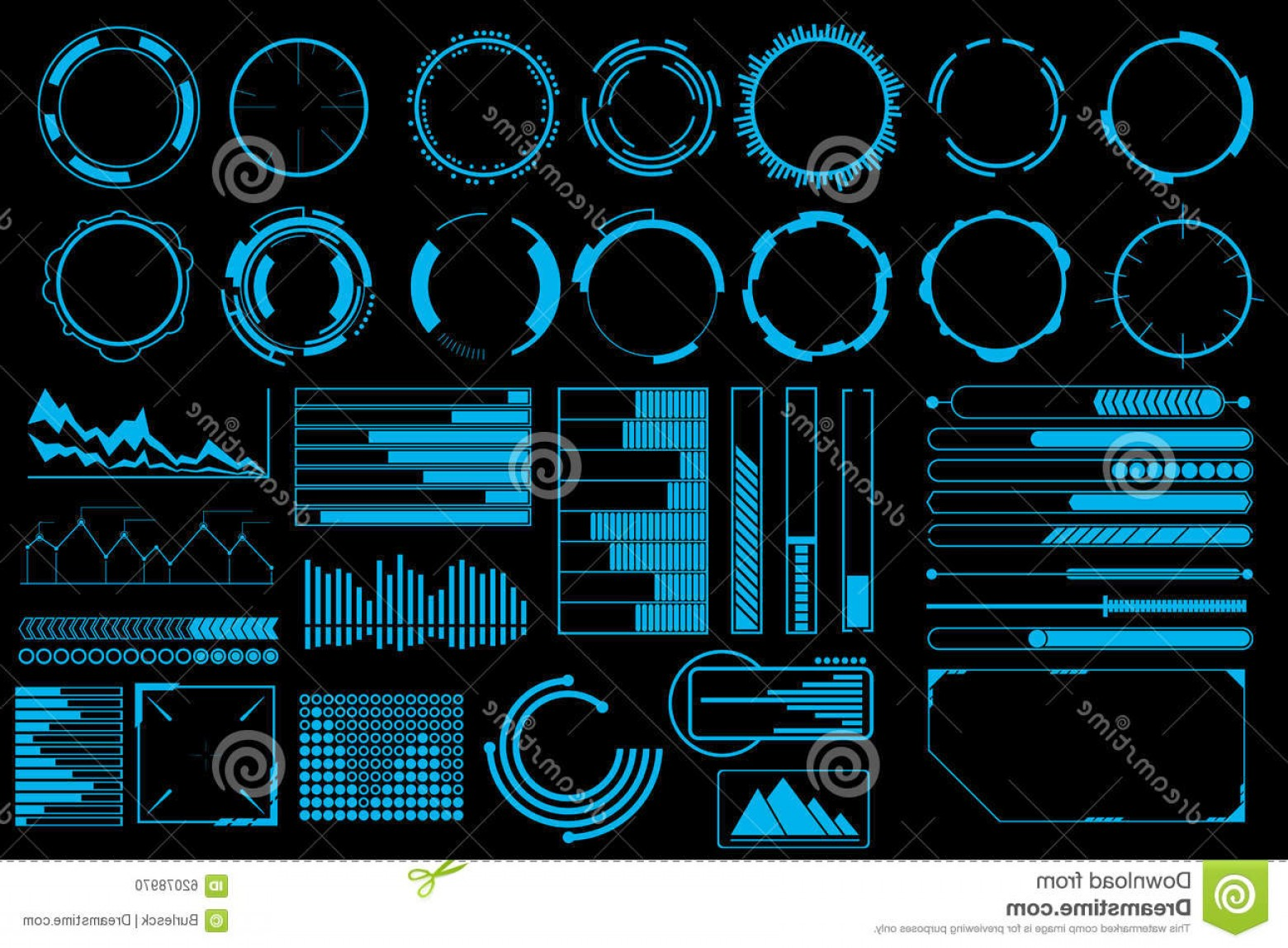 Futuristic Render Vector Graphics: Stock Illustration Futuristic User Interface Elements Vector Set Web Banner Abstract Bar Info Graphic Design Illustration Image