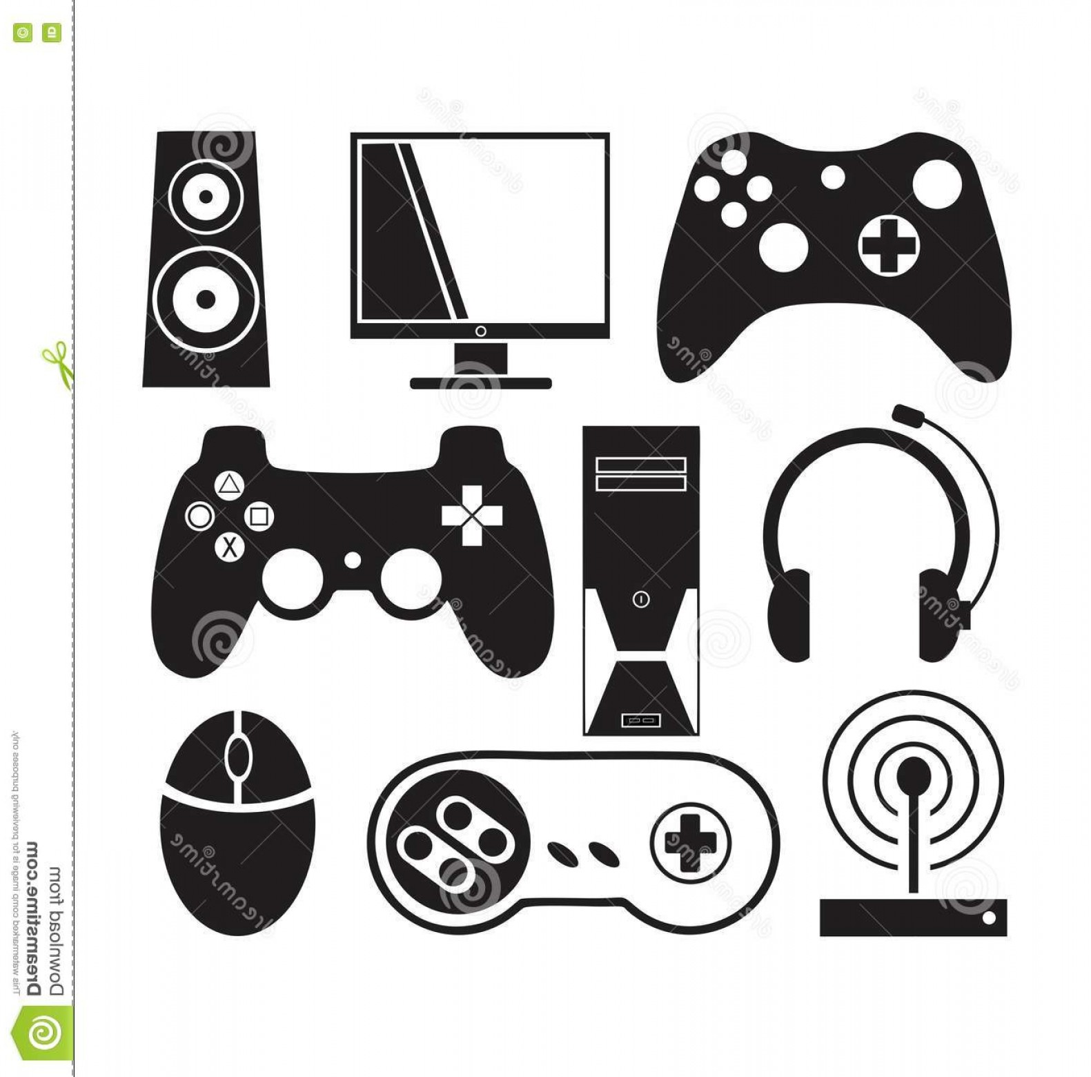 Vector The Game On PC: Stock Illustration Games Console Vector Pc Image