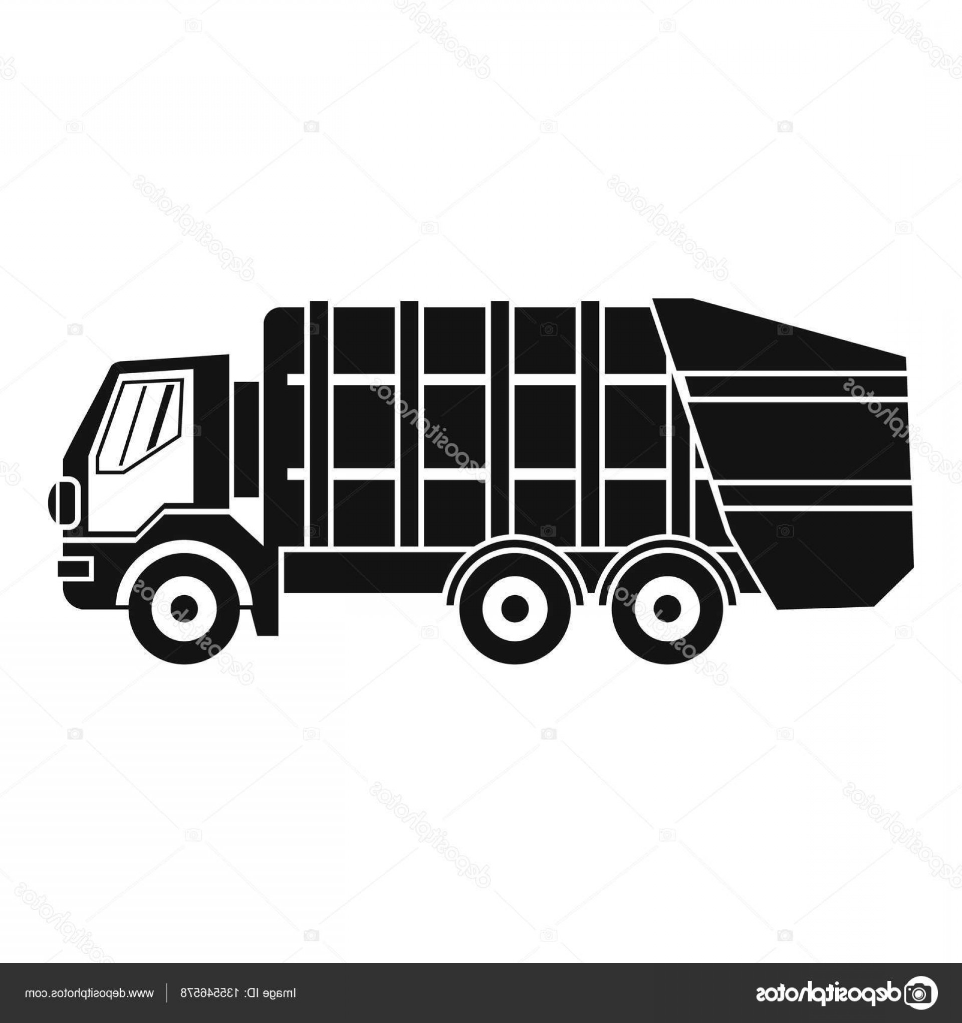 Dump Truck Vector Black And White: Stock Illustration Garbage Truck Icon Simple Style