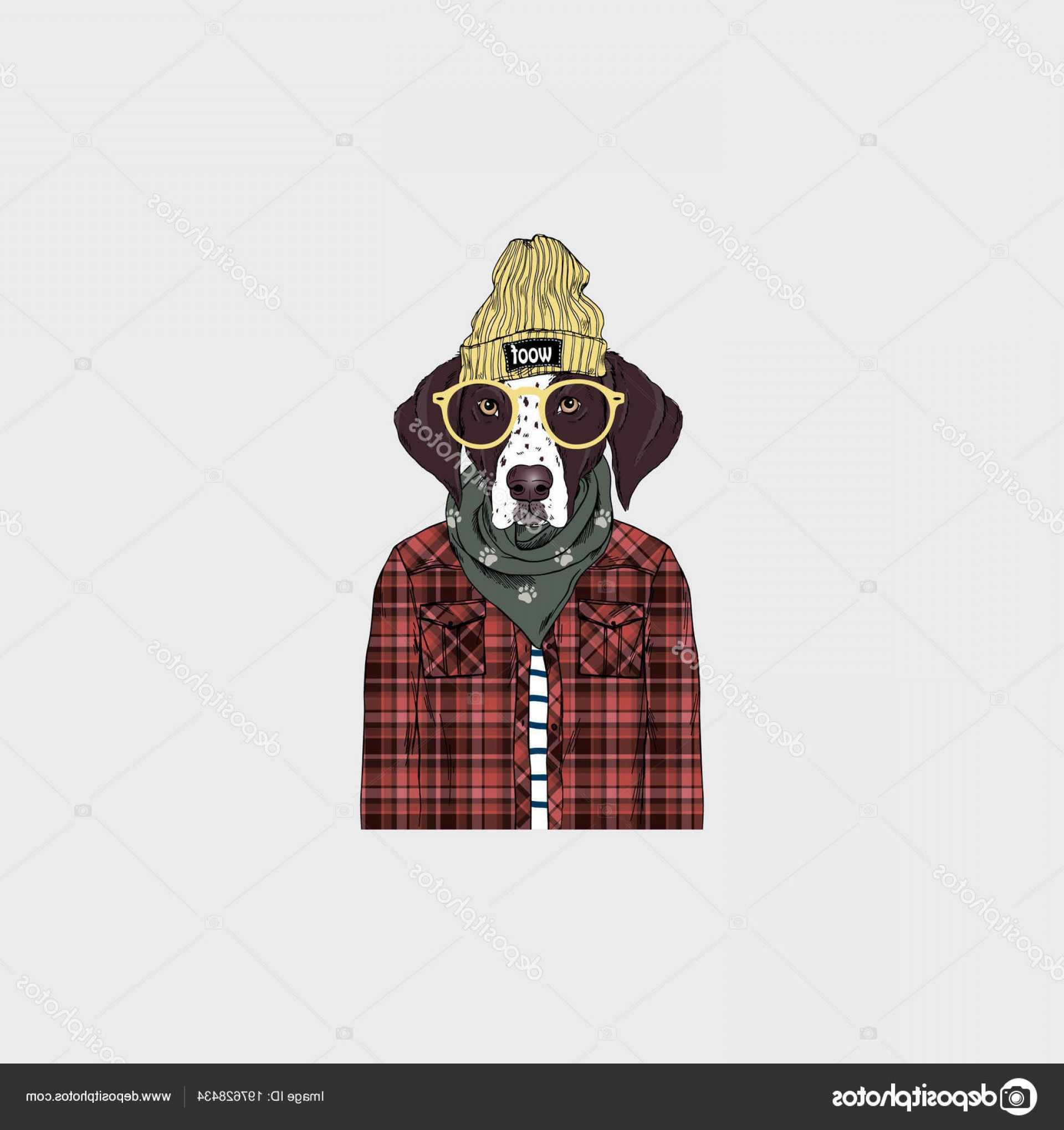 Gas Mask Suit And Tie Vector: Stock Illustration German Shorthaired Pointer Hipster Portrait
