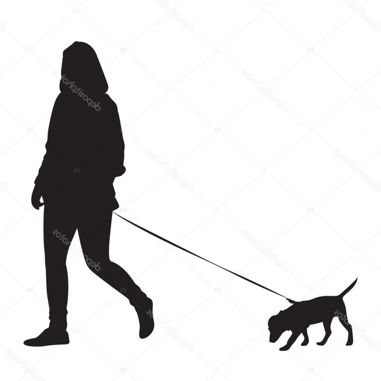 Vector Silhouette Dog Walk: Stock Illustration Girl Walking With Dog Silhouette