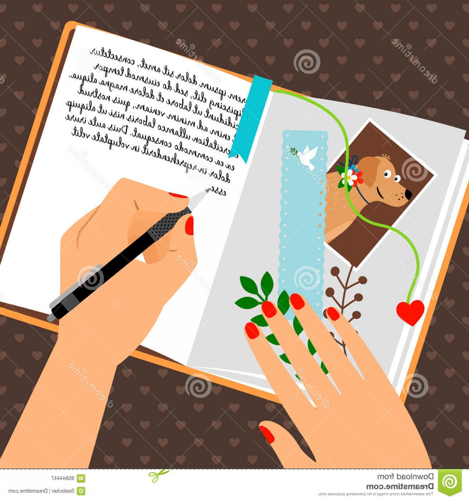 Notepad Writing Hand Vector: Stock Illustration Girls Diary Scheduler Bookmark Writing Secrets Vector Illustration Open Notepad Dog Photo Image