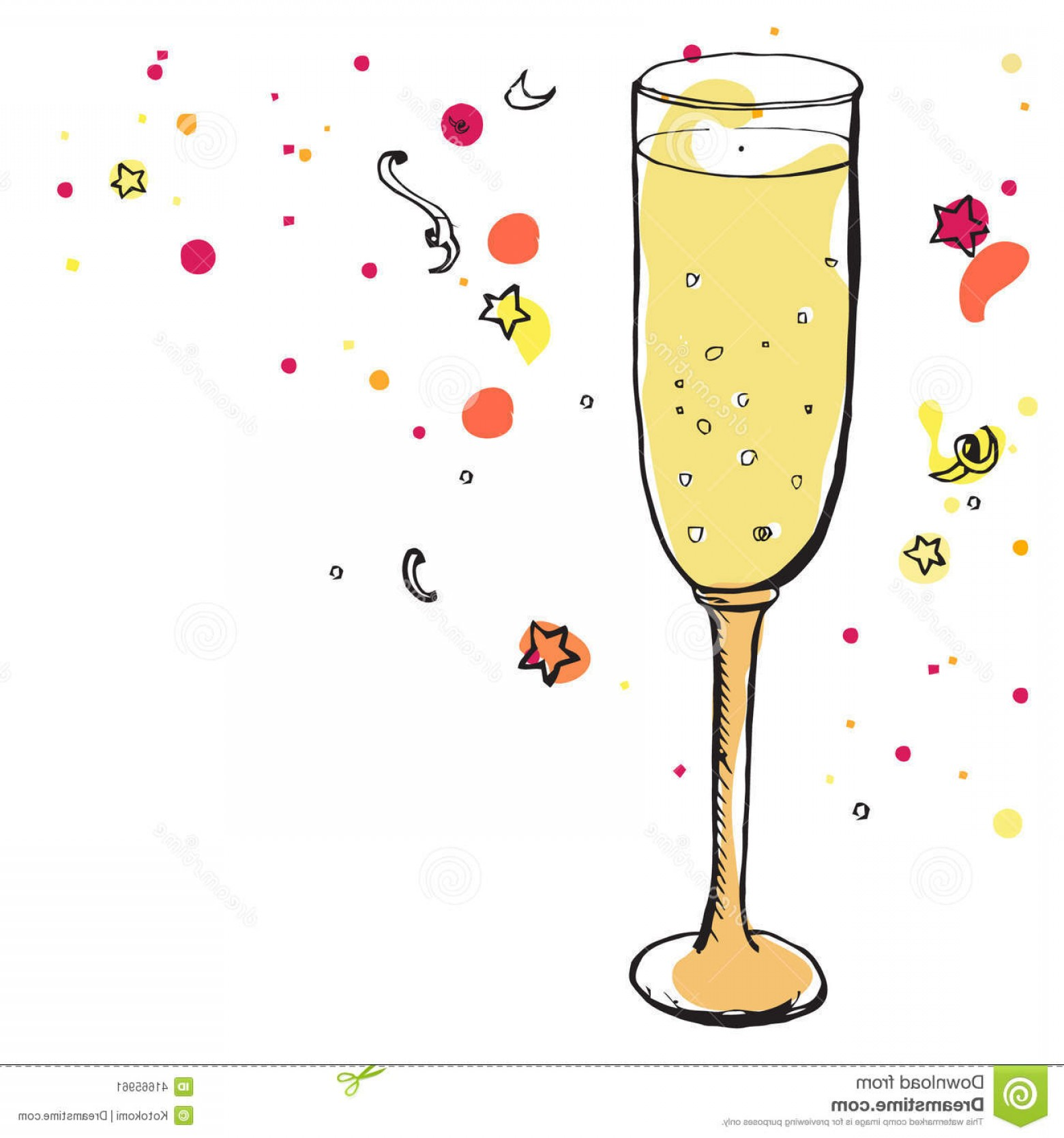 Vector Champagne Party: Stock Illustration Glass Champagne Party Decorations Vector Sketched Illustration Alcohol Drink Stars Image