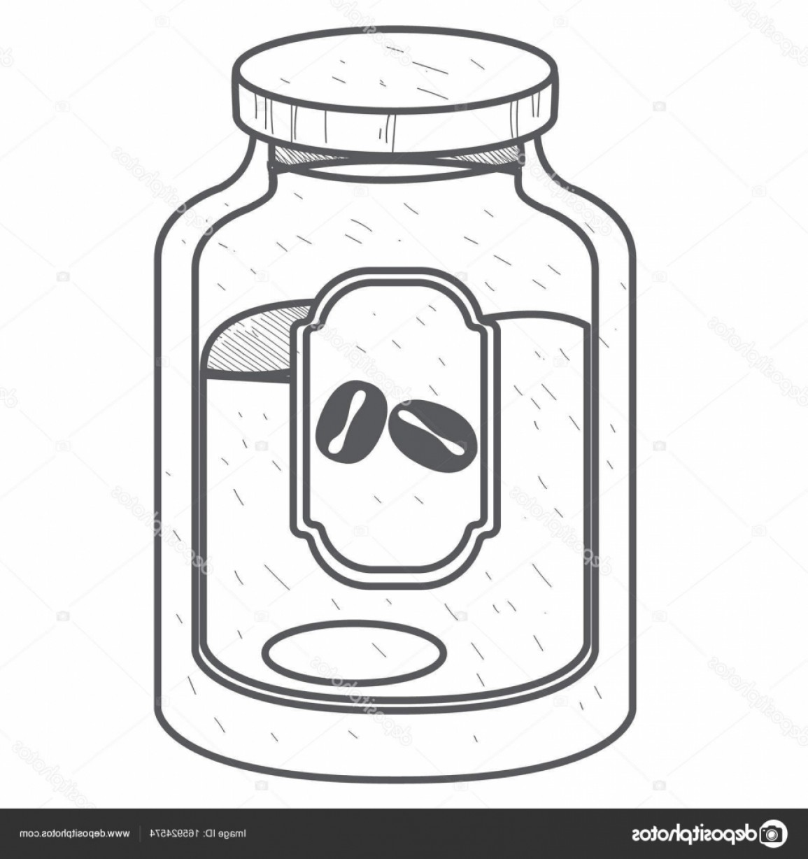 Mason Jar Outline Vector: Stock Illustration Glass Jar Of Ground Coffee