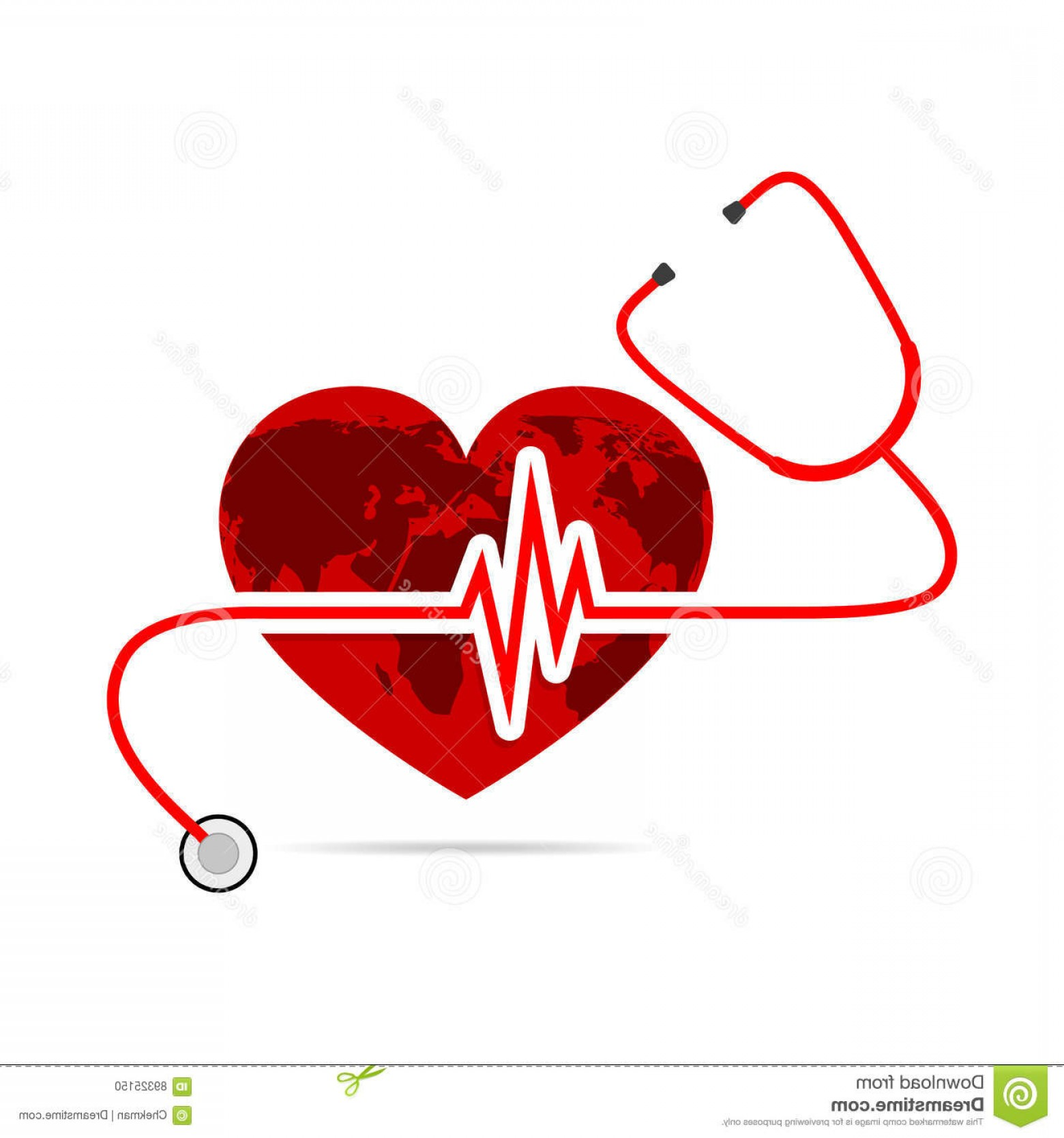 Stethoscope With Heart Vector Art: Stock Illustration Globe Earth Stethoscope Heartbeat Sign Vector Illustration World Health Day Form Heart White Background Image