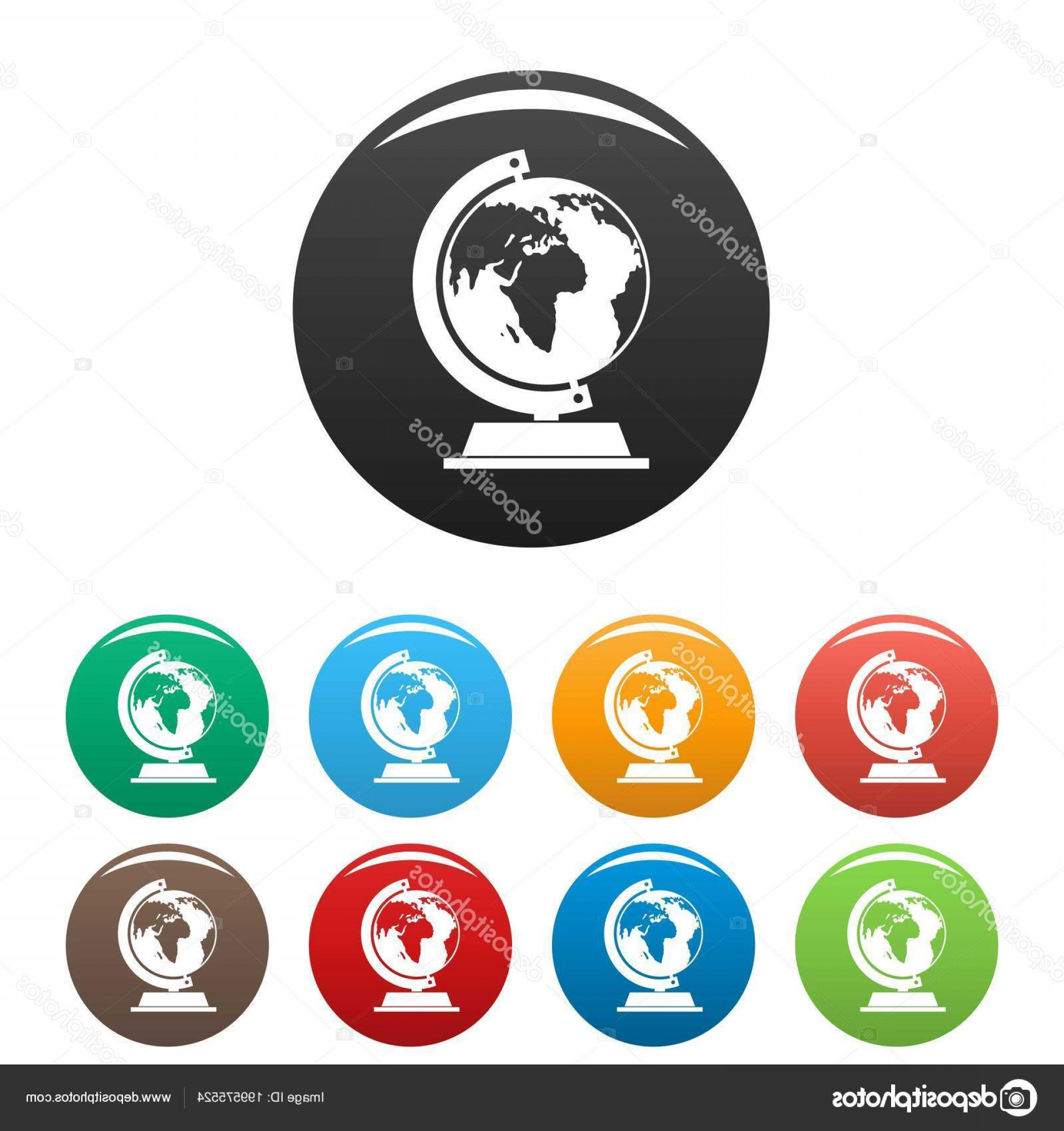 One Color Simple Vector Globe: Stock Illustration Globe Icons Set Color Vector