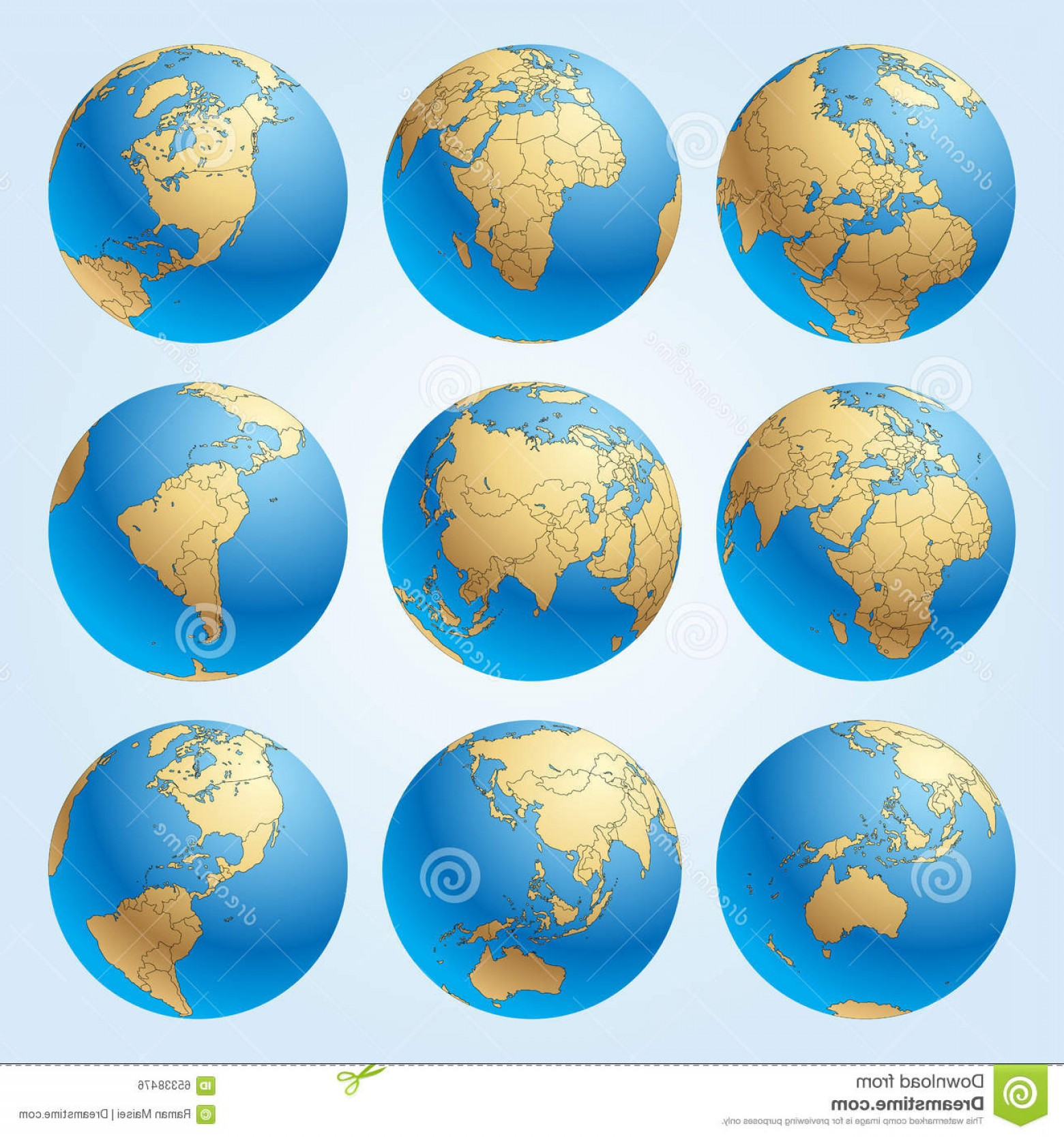 Vector Globe Countries: Stock Illustration Globe Set Borders Countries World Easy To Select Every Country Delete Contour Contain Clipping Image