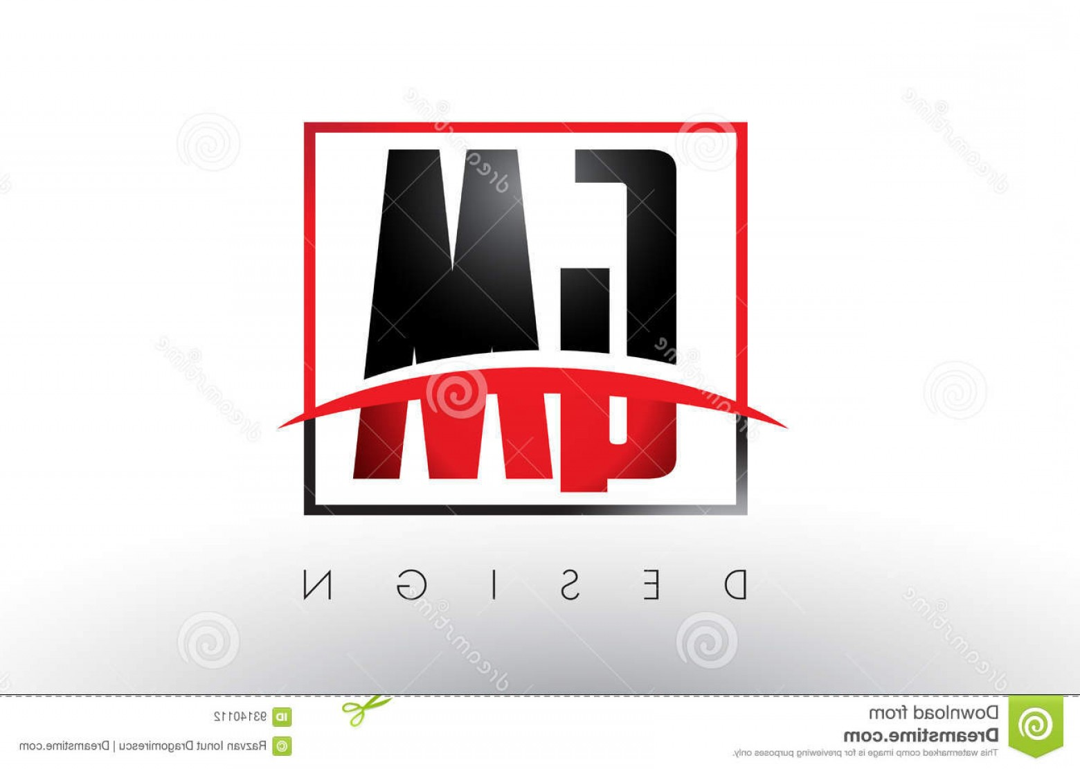 GM Logo Vector: Stock Illustration Gm G M Logo Letters Red Black Colors Swoosh Creative Letter Design Vector Image