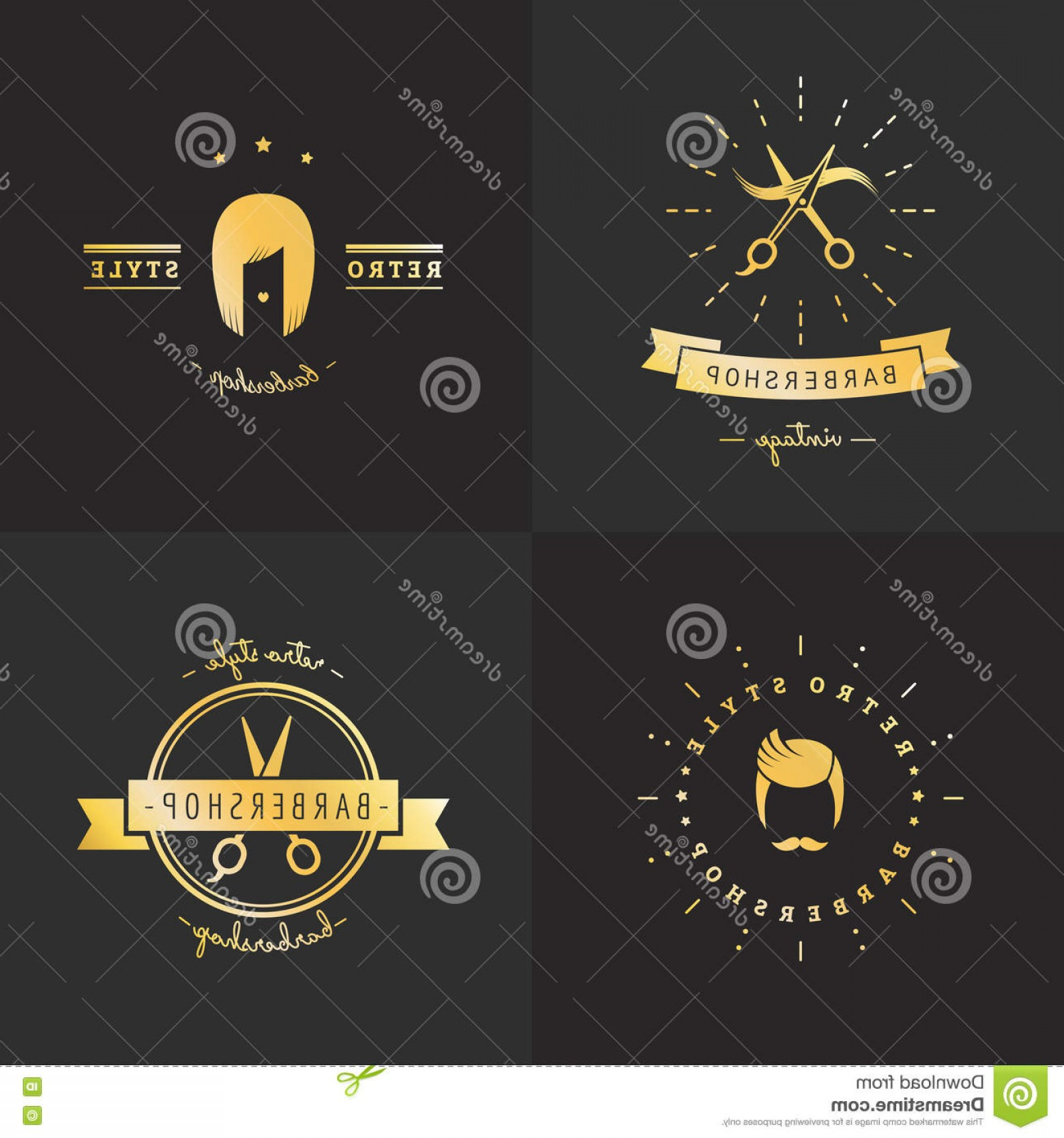 Golden Barber Vector: Stock Illustration Gold Barbershop Logo Vector Set Vintage Design Part Two Hipster Image
