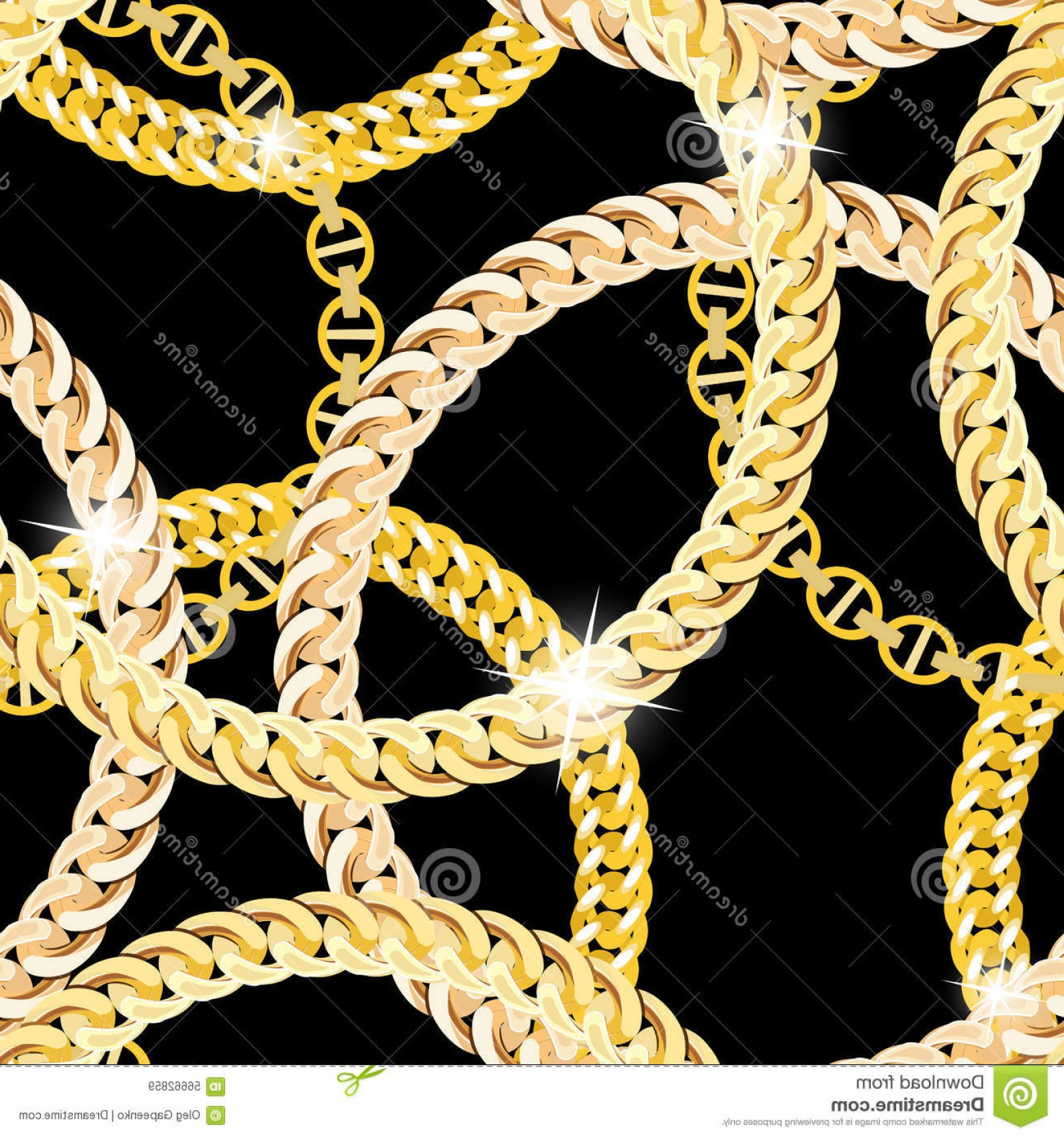 Necklace Vector Chain Grapicts: Stock Illustration Gold Chain Jewelry Seamless Pattern Background Vector Illustration Eps Image