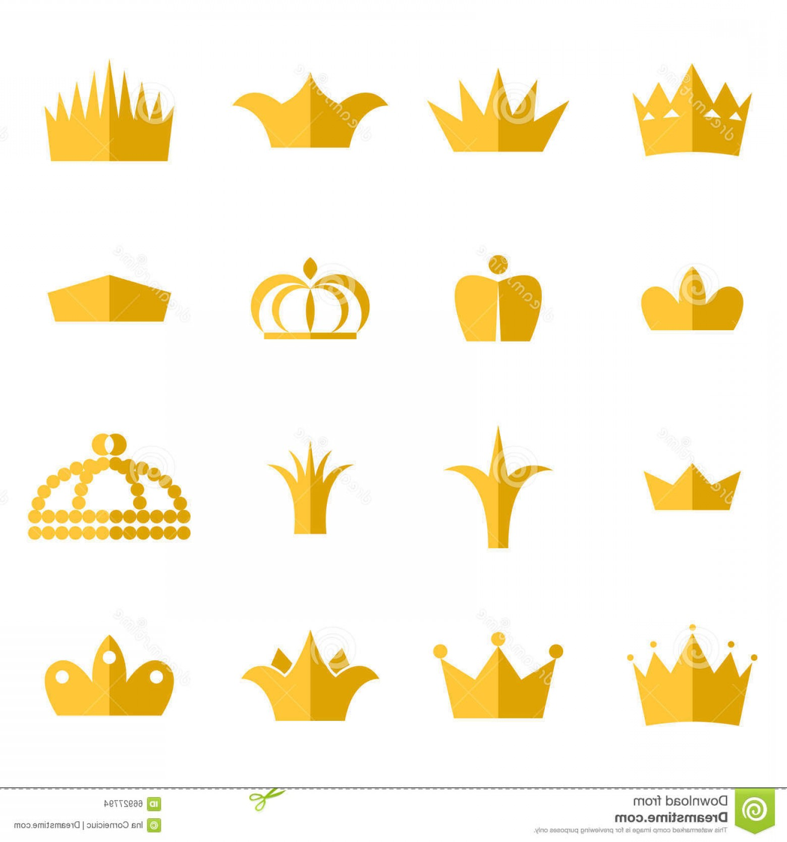Crown Vector Clip Art: Stock Illustration Gold Crown Clip Art Vector Set King Queen Crowns Flat Style Icons Image