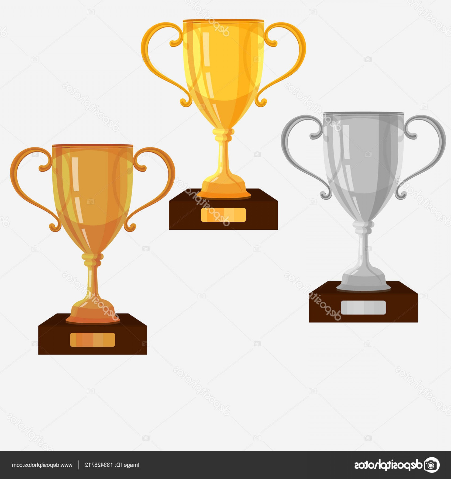 Gold Trophy Vector: Stock Illustration Gold Silver Bronze Trophy Cup