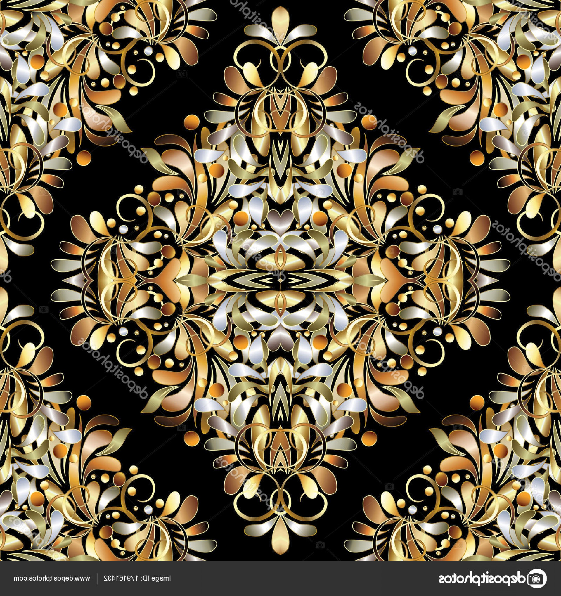 Paisley Swirl Flower Vector: Stock Illustration Gold Vintage D Floral Seamless