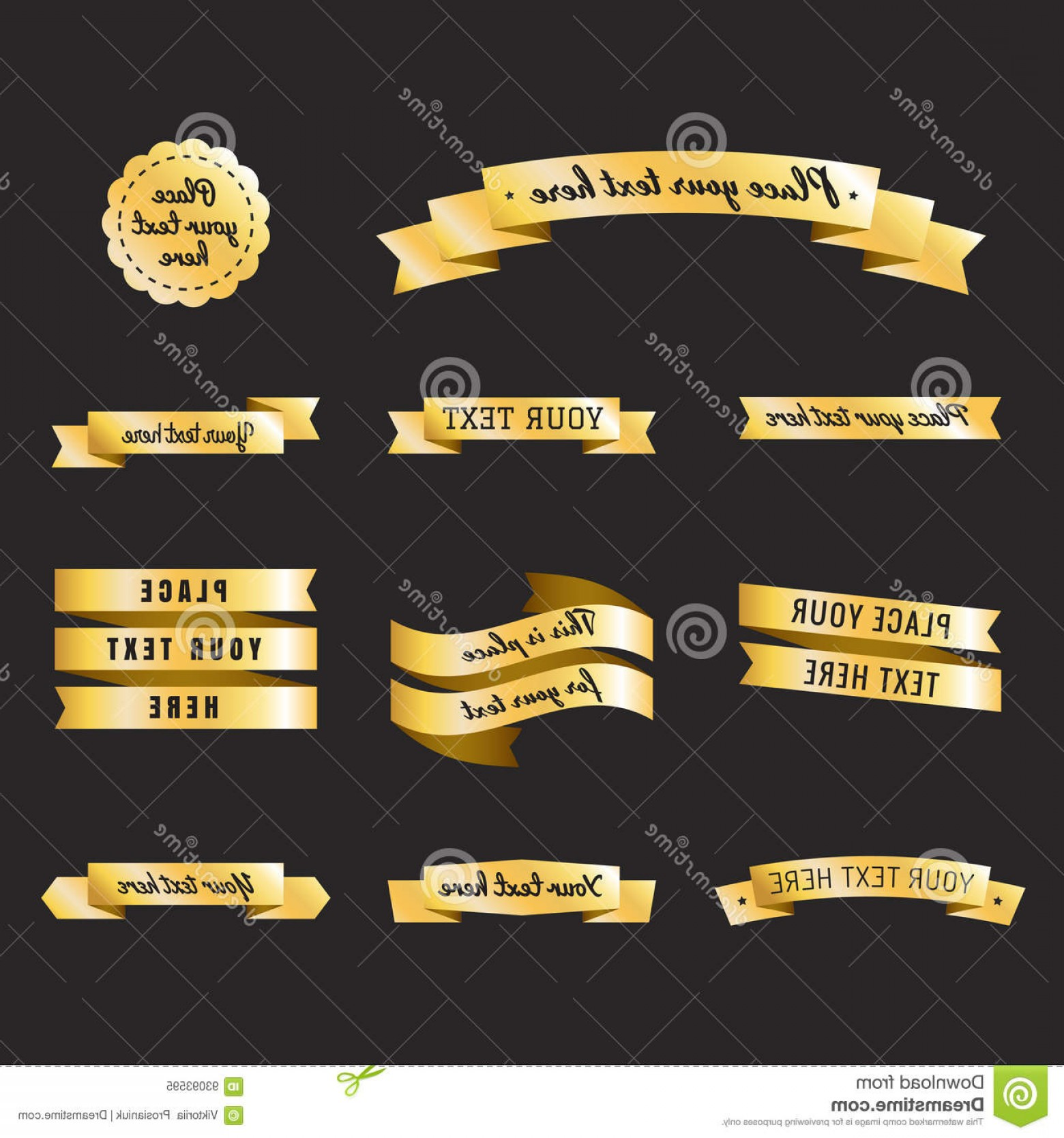 Badge Vector 1920'Sribbon: Stock Illustration Gold Vintage Ribbons Retro Style Vector Set Part Three Labels Badges Image