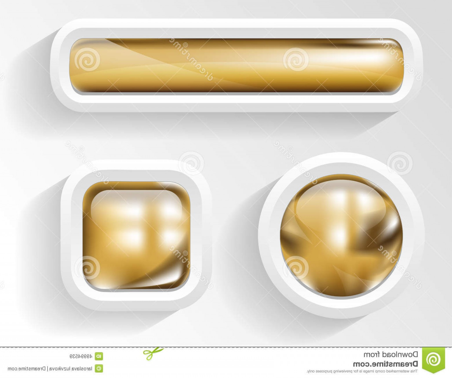 Gold Button Vector: Stock Illustration Golden Buttons Vector Glossy Frame Image