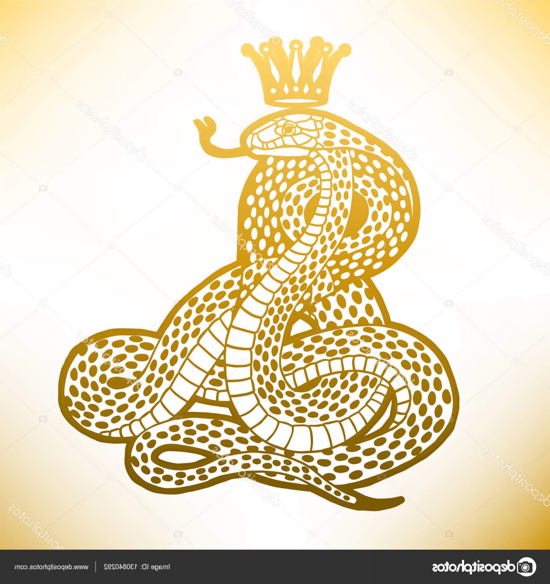 Snake Crown Vector: Stock Illustration Golden Snake With Crown