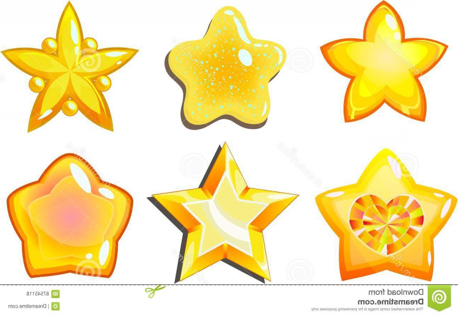 Free Vector Star: Stock Illustration Golden Stars Cartoon Vector Star Icons Set Glow Buttons Fantasy Game Isolated Transparent Background Image