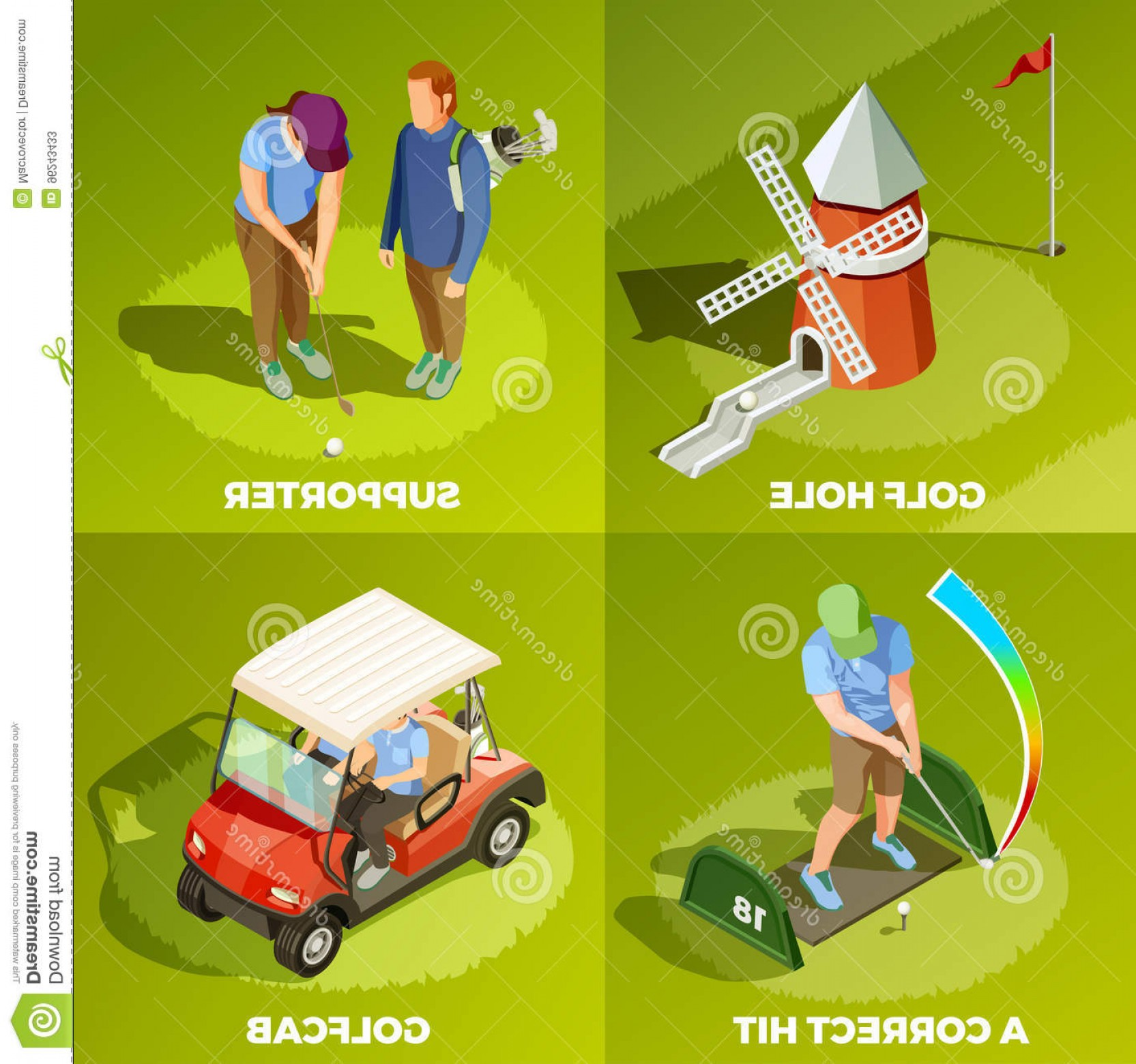 Vector Golf Simulator: Stock Illustration Golf Isometric Design Concept Correct Hit Cabriolet Supporter Hole Square Compositions Vector Illustration Image