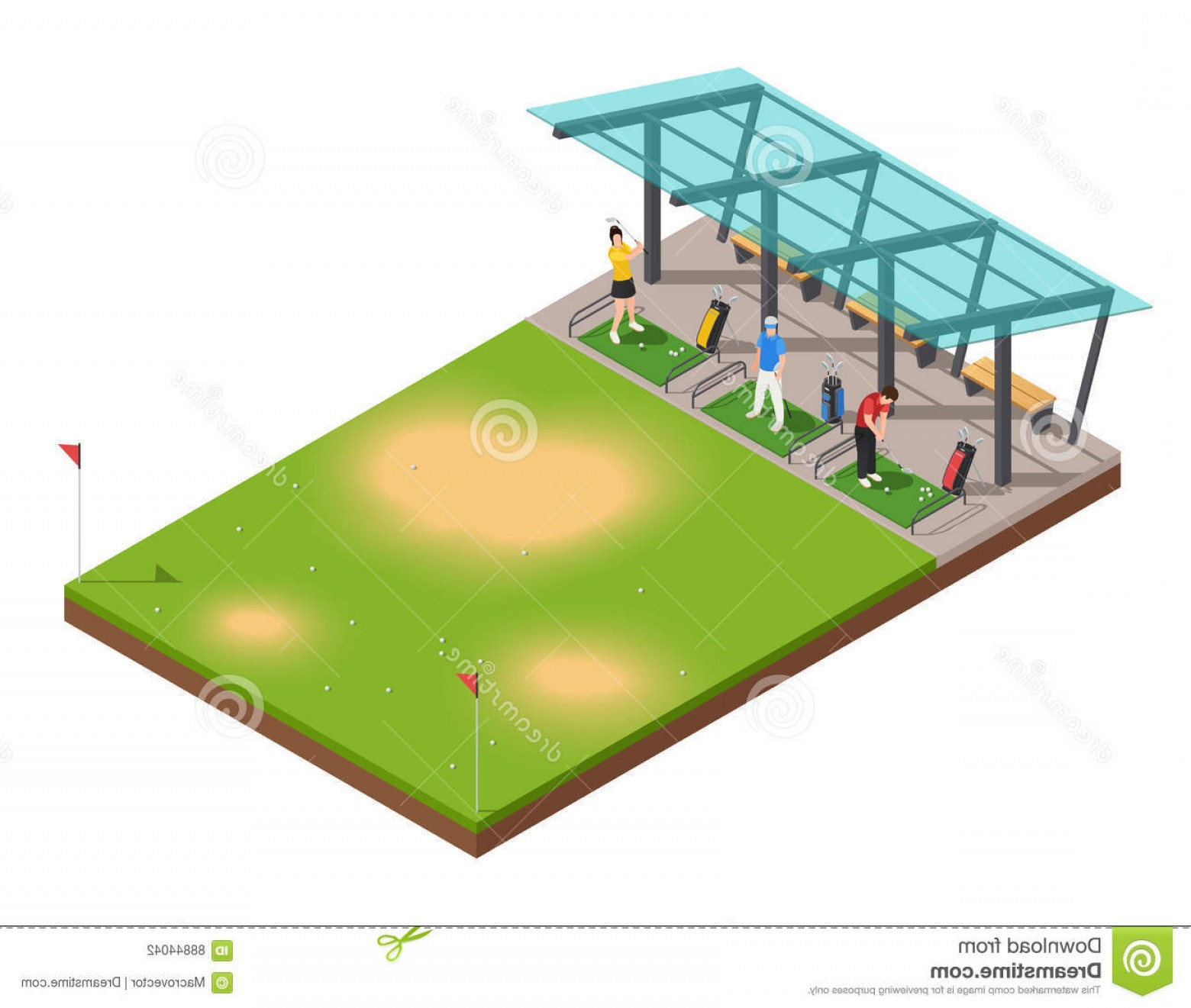 Vector Golf Simulator: Stock Illustration Golf Training Isometric Composition Instructor Players Swinging Putter Under Canopy Vector Illustration Image