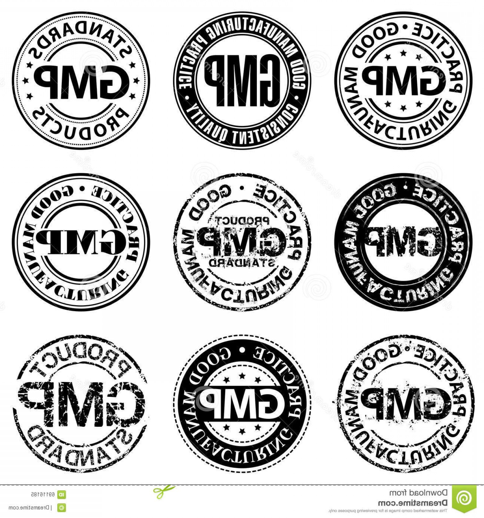 GMP Logo Vector: Stock Illustration Good Manufacturing Practice Stamp Design Variations Sign Image