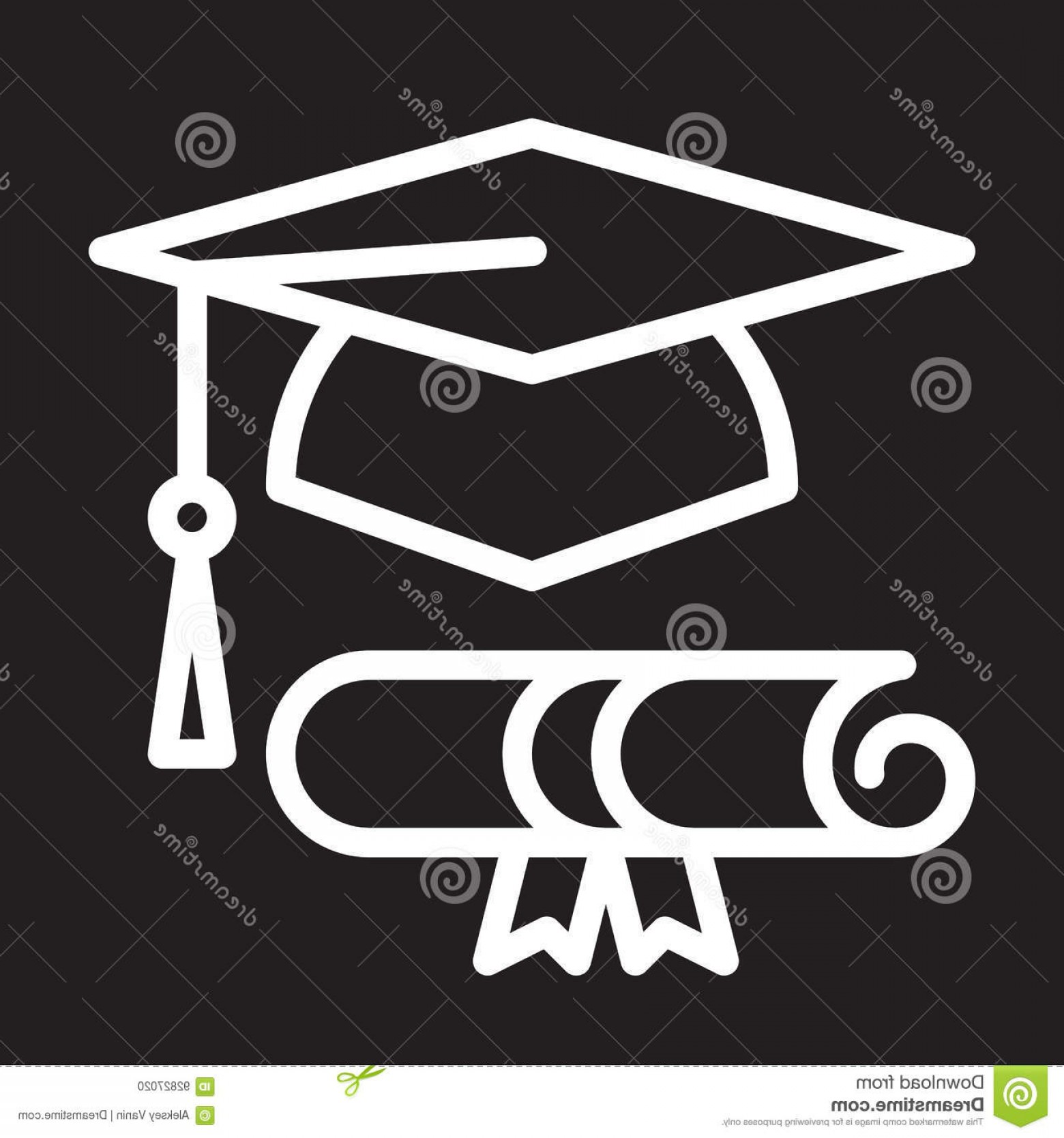 Diploma Icon Vector: Stock Illustration Graduation Hat Diploma Line Icon White Outline Sign Vector Illustration Image