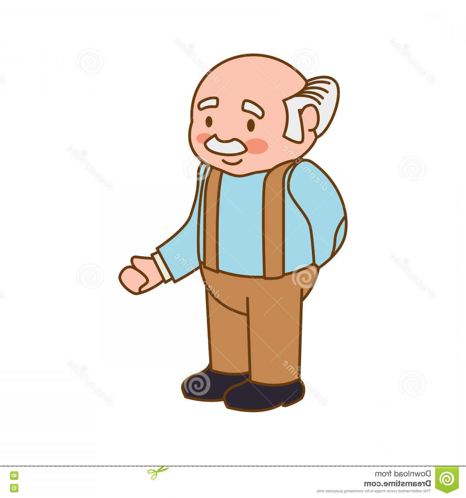Old Male Icon Vector: Stock Illustration Grandfather Old Person Man Male Icon Vector Graphic Isolated Flat Illustration Image