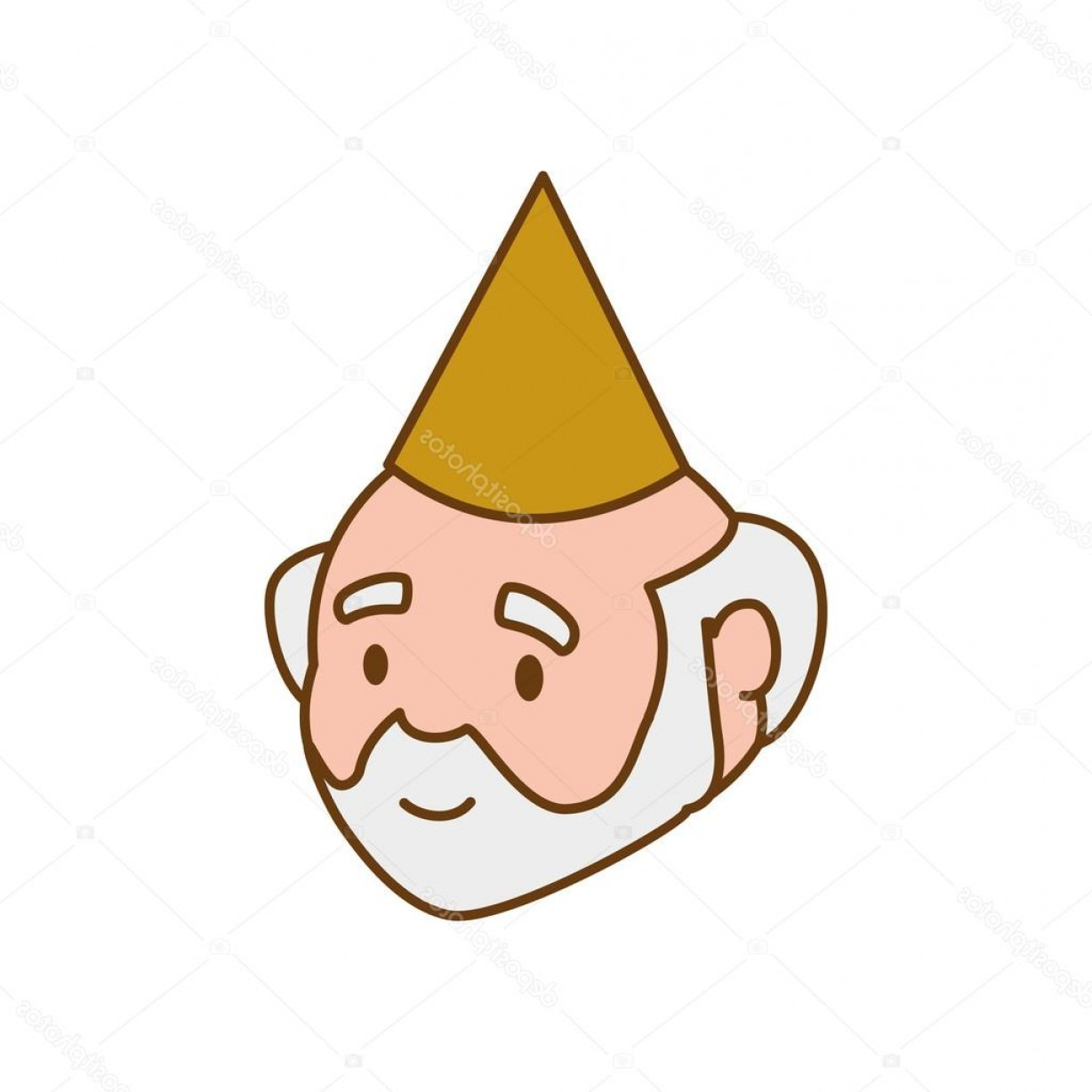 Old Male Icon Vector: Stock Illustration Grandfather Party Hat Old Person