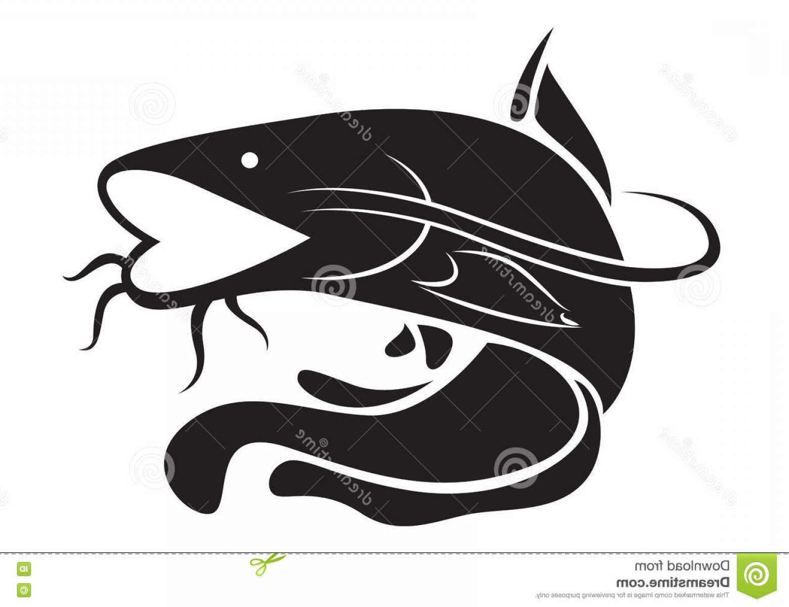 Catfish Vector Logo: Stock Illustration Graphic Catfish Vector Clip Art Black White Background Image