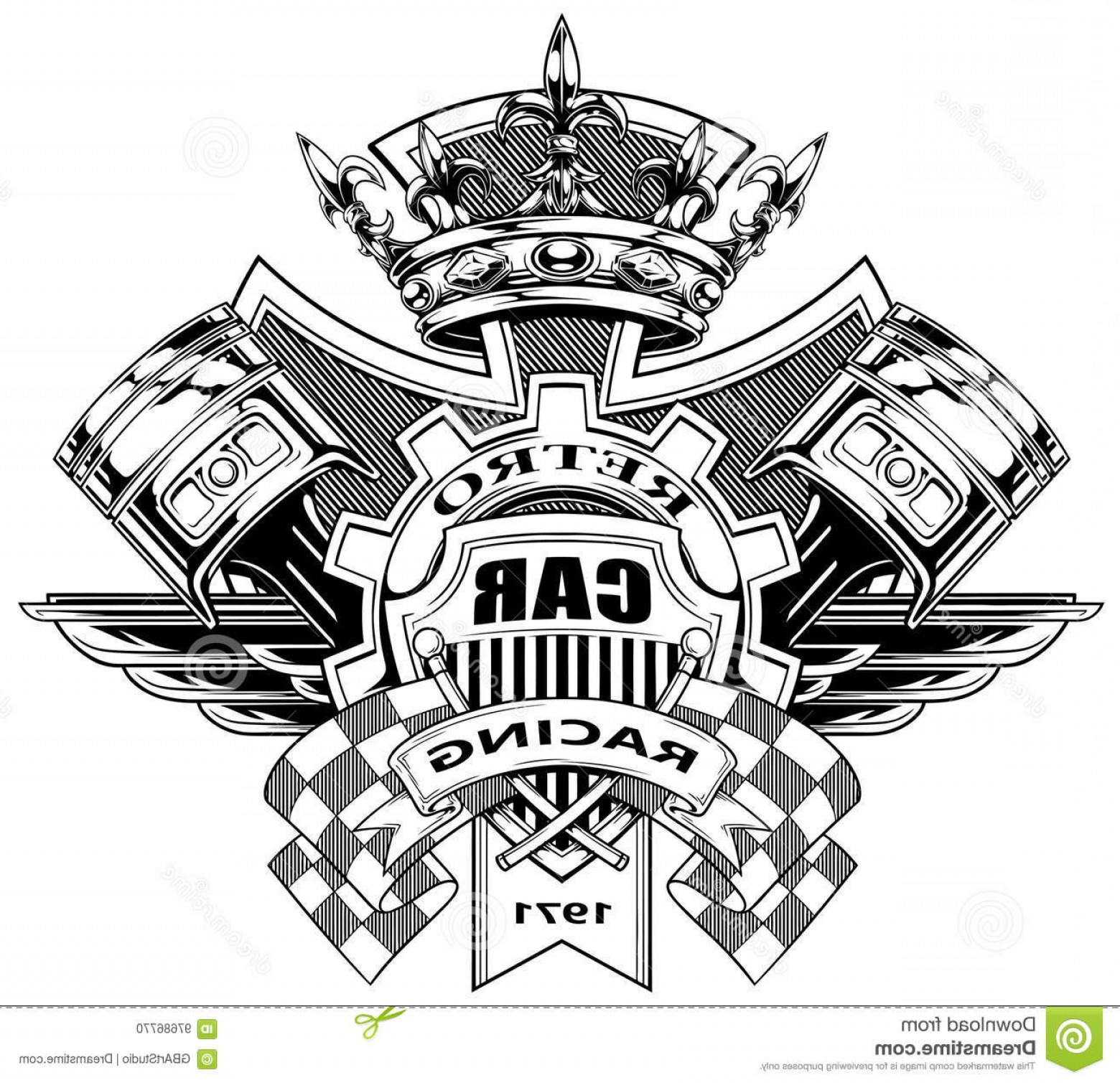 Black And White Vector Racing Graphics: Stock Illustration Graphic Coat Arms Pistons Racing Flags Black White Crossed Flag Royal Diamond Crown Gear Wings Vector Image