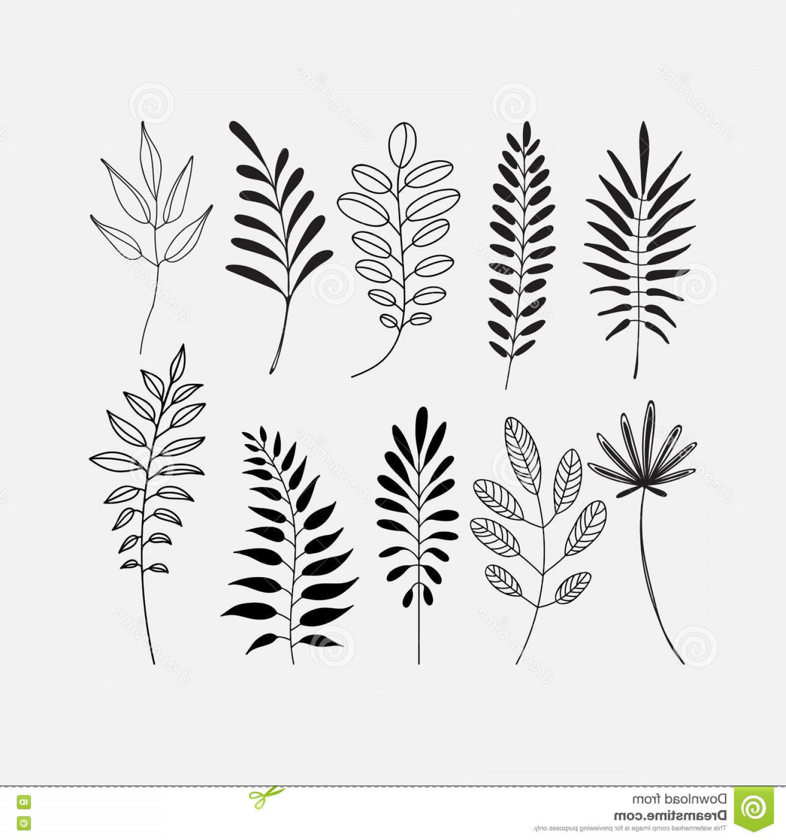 Vector Leaf Graphicd: Stock Illustration Graphic Decorative Set Leaf Icons Vector Icon Silhouette Outlined Different Leaves Trees Image
