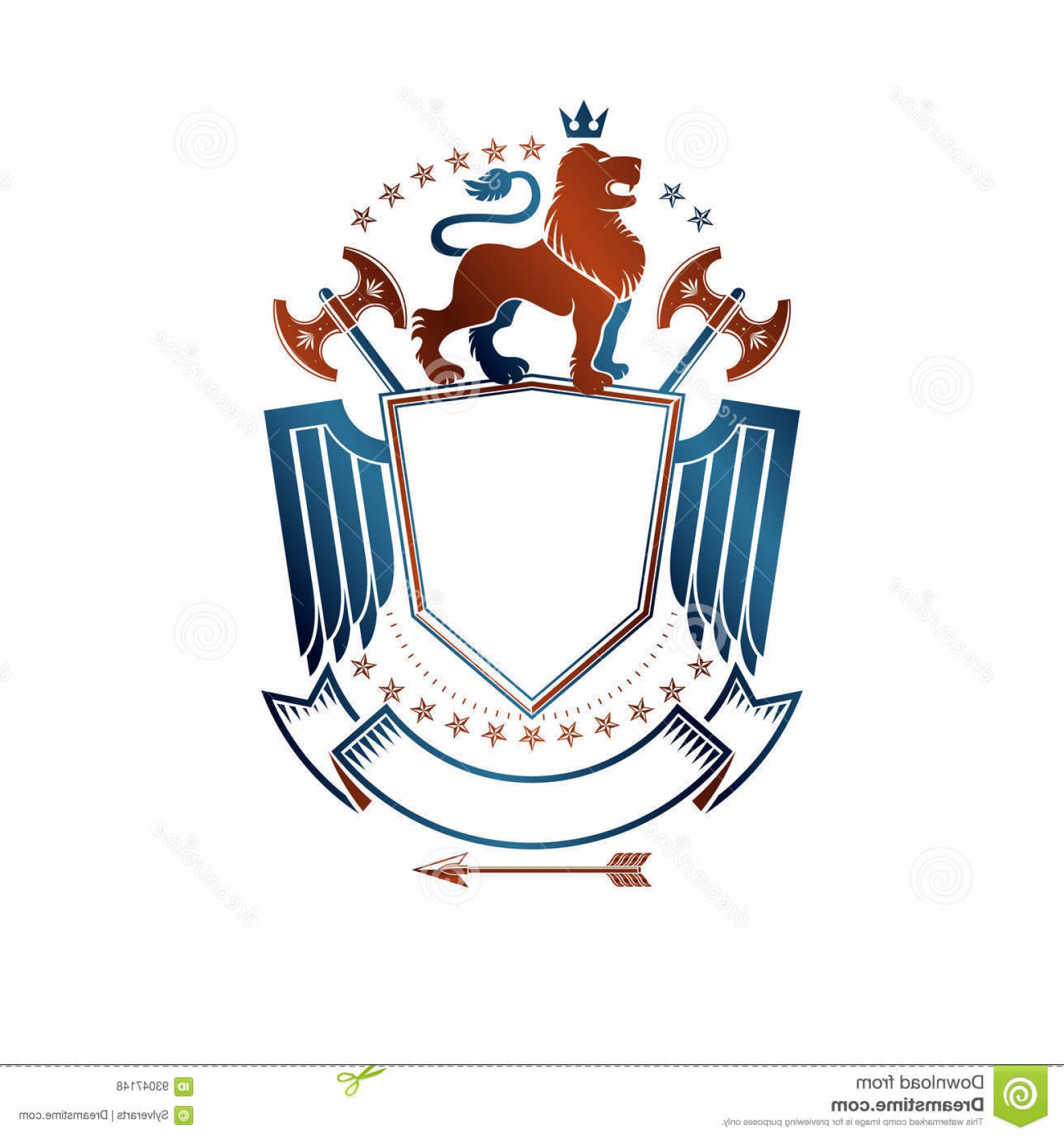 Faith Lions Vector Art Images: Stock Illustration Graphic Emblem Lion Heraldic Animal Element Royal Crown Sharp Hatchets Coat Arms Decorative Logo Isolated Image