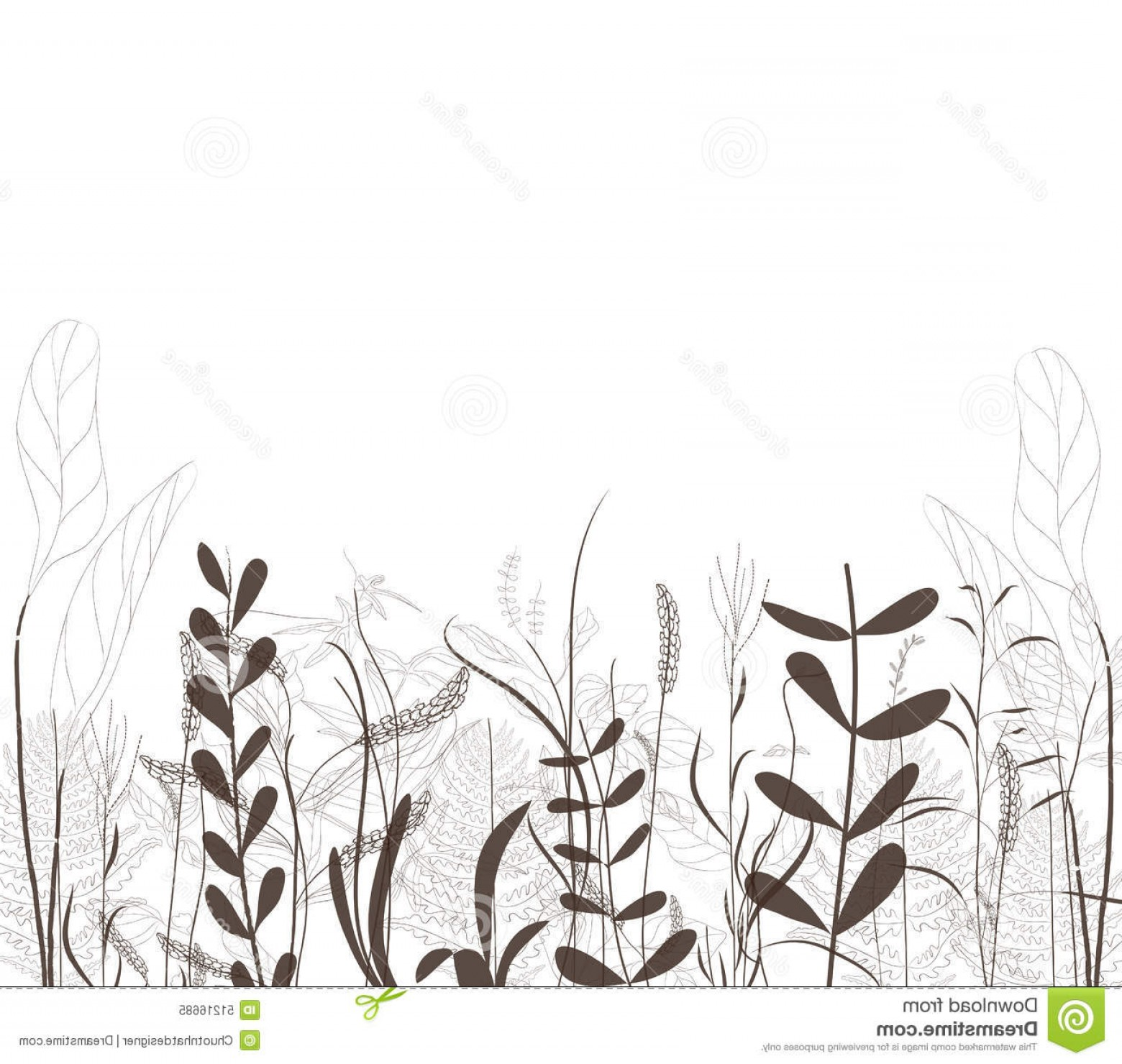 Spring Vector Silhouette: Stock Illustration Grass Vector Silhouette Flower Spring Background Vintage Design Image