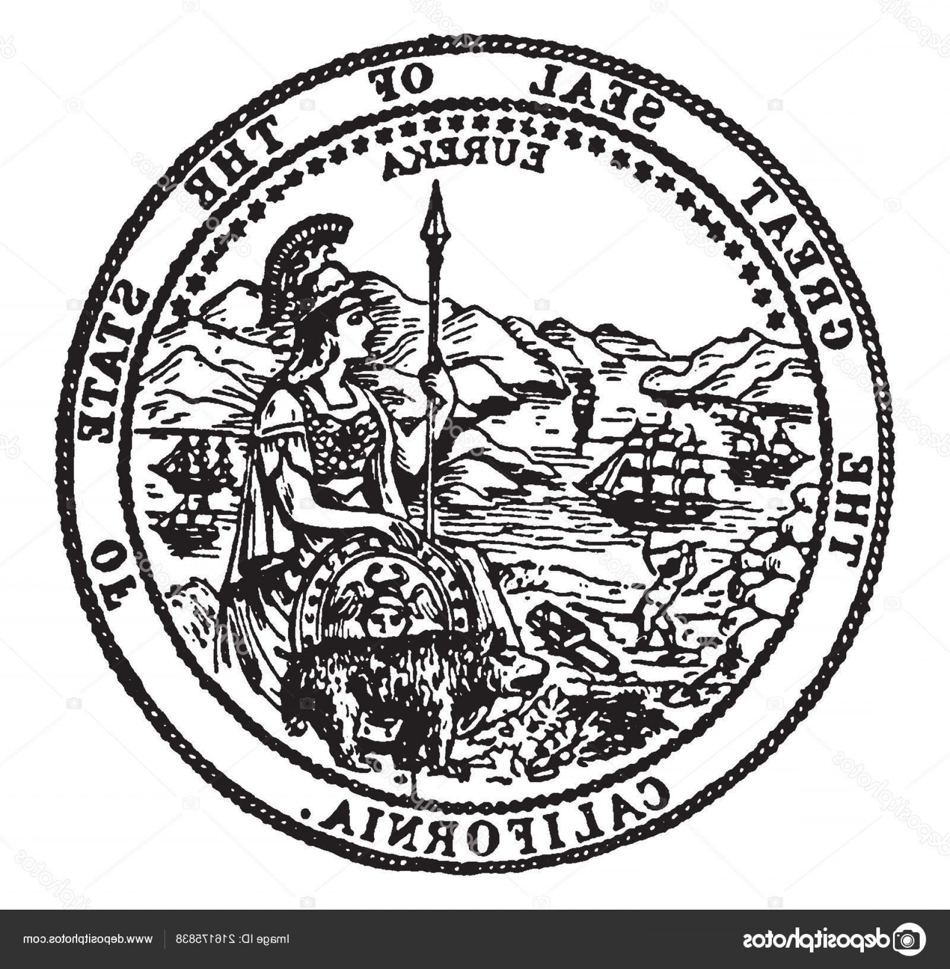 California Black And White Vector: Stock Illustration Great Seal State California Seal