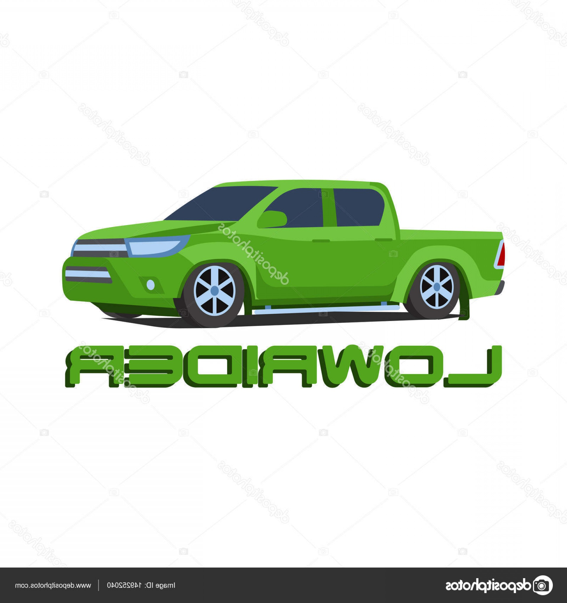 Lowrider Vector: Stock Illustration Gree Pickup Truck Lowrider Car