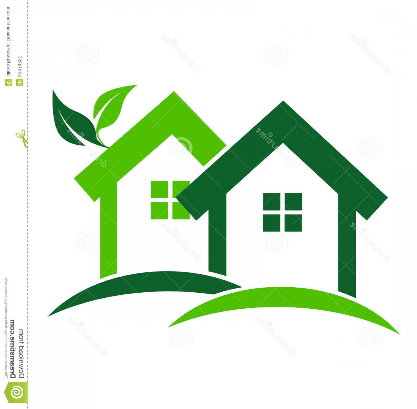 Home Logo Vector: Stock Illustration Green Houses Logo Real Estate Business Card Design Vector Image