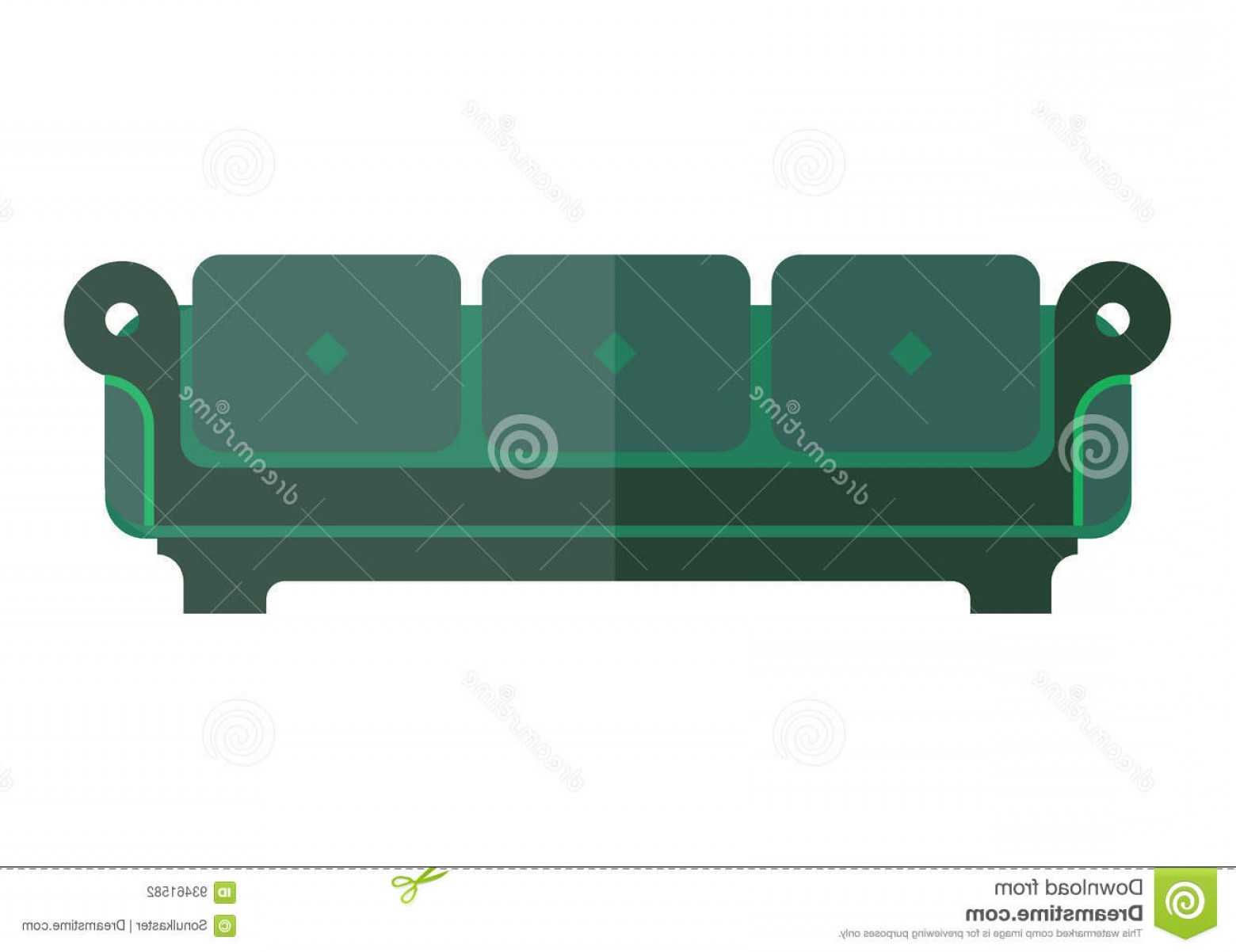 Back Of The Couch Vector: Stock Illustration Green Isolated Sofa Bright Dim Parts White Soft Emerald Couch Back Armrests Vector Colorful Illustration Image