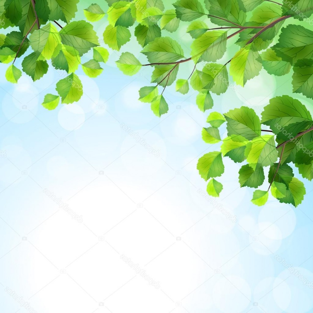 Tree Branch Vector Background: Stock Illustration Green Leaves Tree Branches Vector