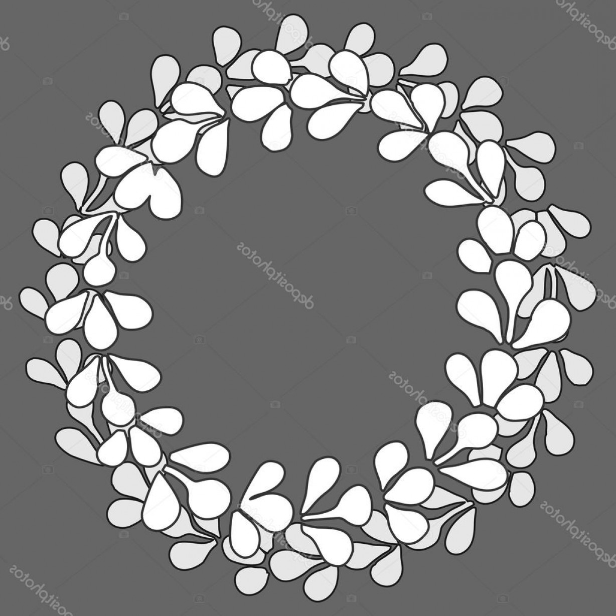 Floral Laurel Wreath Vector: Stock Illustration Grey And White Laurel Floral